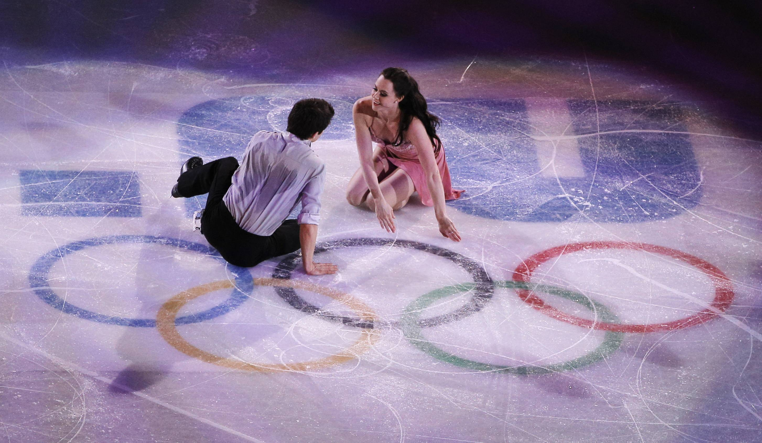 Tessa Virtue and Scott Moir of Canada perform during the figure skating exhibition gala at the Iceberg Skating Palace during the 2014 Winter Olympics, Saturday, Feb. 22, 2014, in Sochi, Russia.