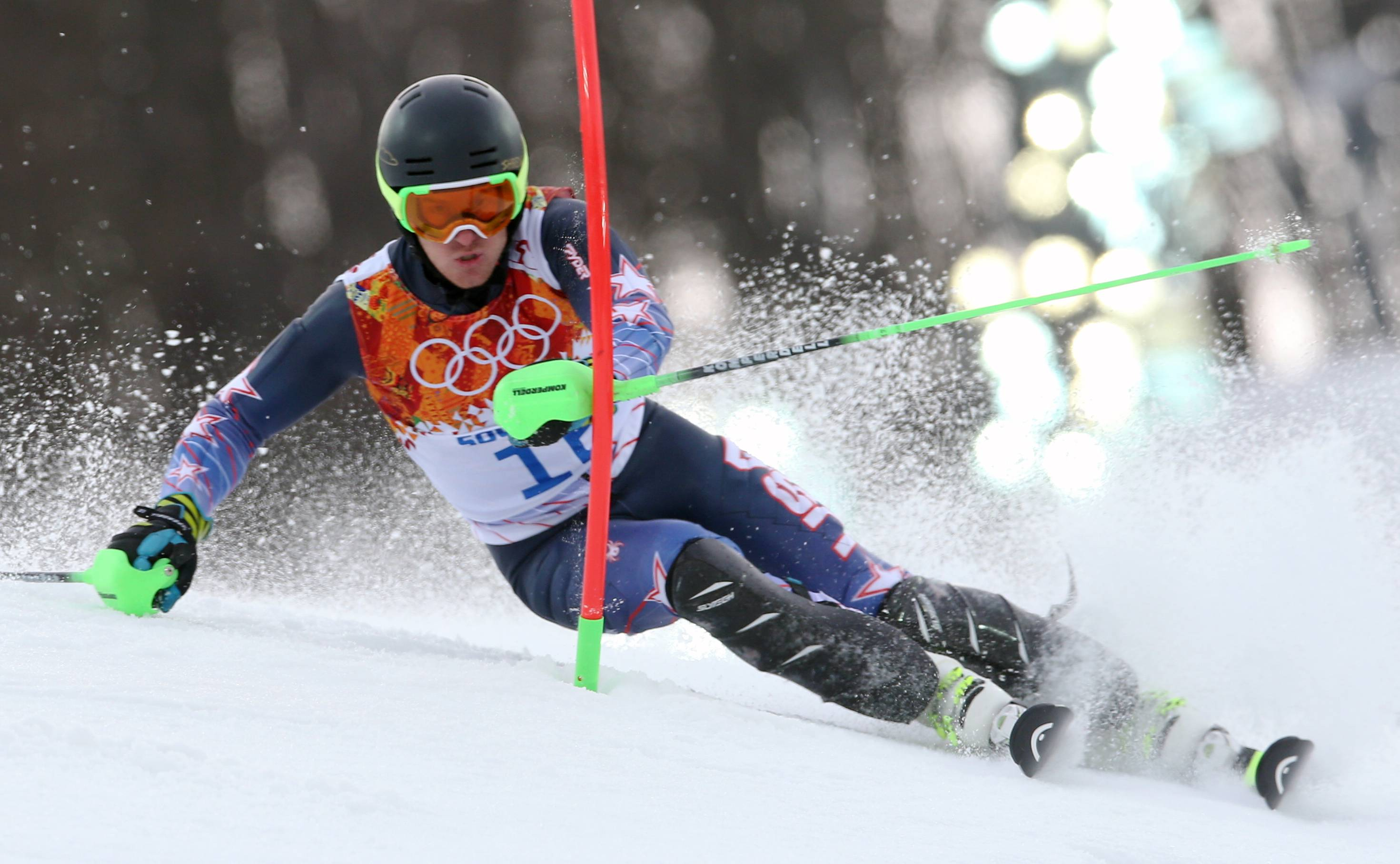 United States' Ted Ligety skis during the first run of the men's slalom at the Sochi 2014 Winter Olympics, Saturday, Feb. 22, 2014, in Krasnaya Polyana, Russia.