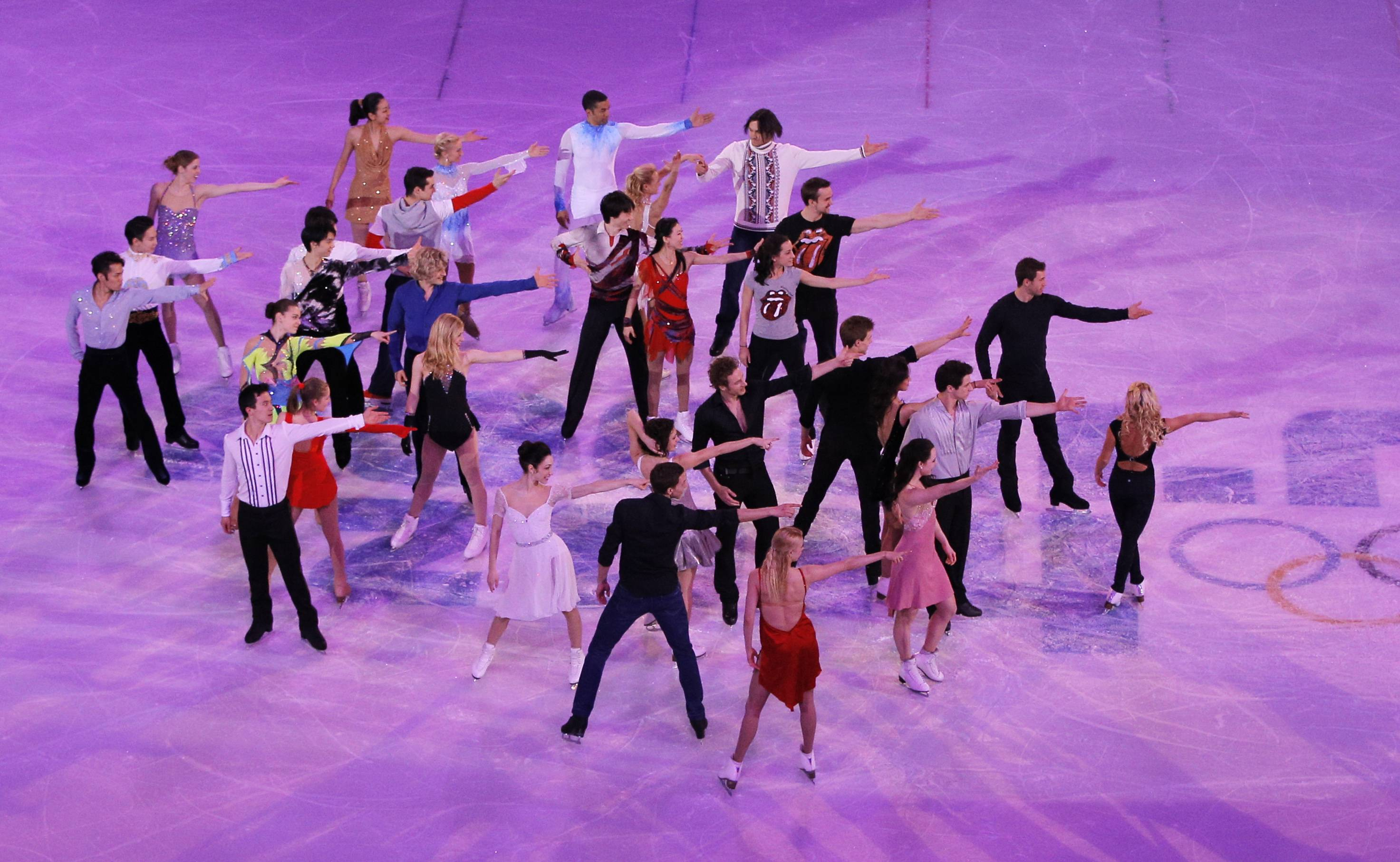 Skaters perform during the final of the figure skating exhibition gala at the Iceberg Skating Palace during the 2014 Winter Olympics, Saturday, Feb. 22, 2014, in Sochi, Russia.
