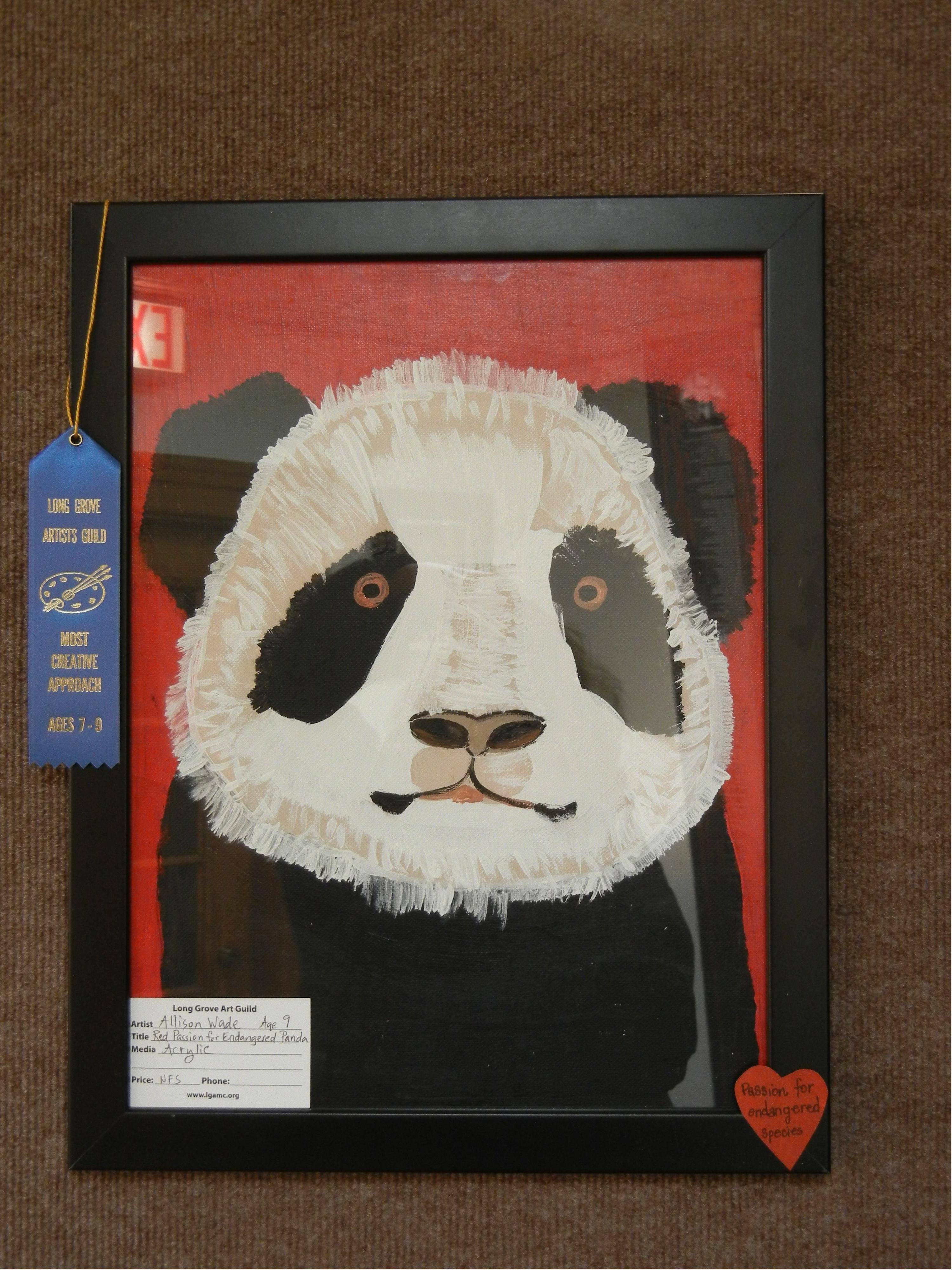 """Red Passion for Endangered Panda"" by Allison Wade, age 8, one of the winning artworks at the Long Grove Artists Guild Invitational Art Show, ""Something About the Color Red …"""