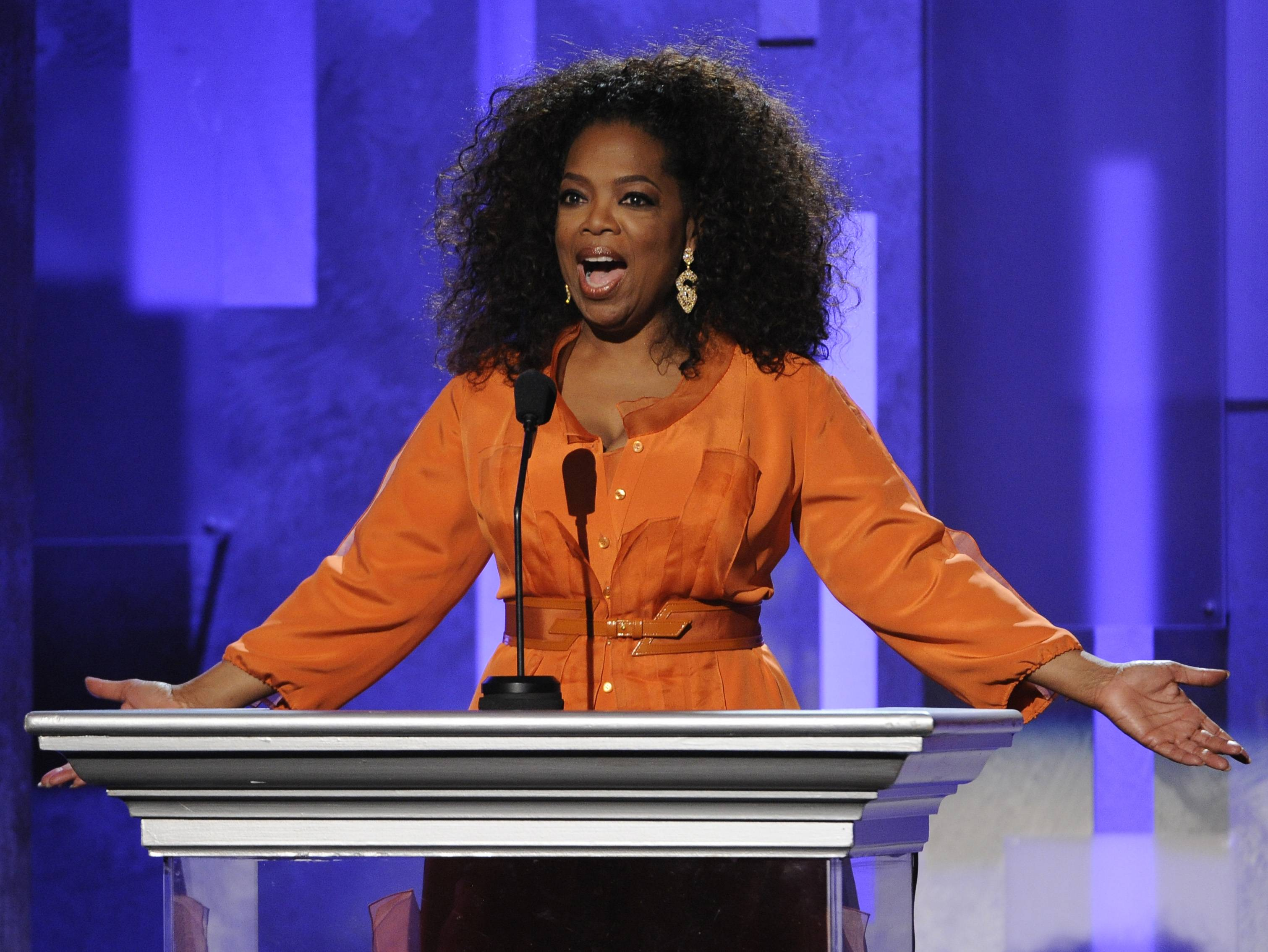 Oprah Winfrey speaks on stage at the 45th NAACP Image Awards at the Pasadena Civic Auditorium on Saturday in Pasadena, Calif.