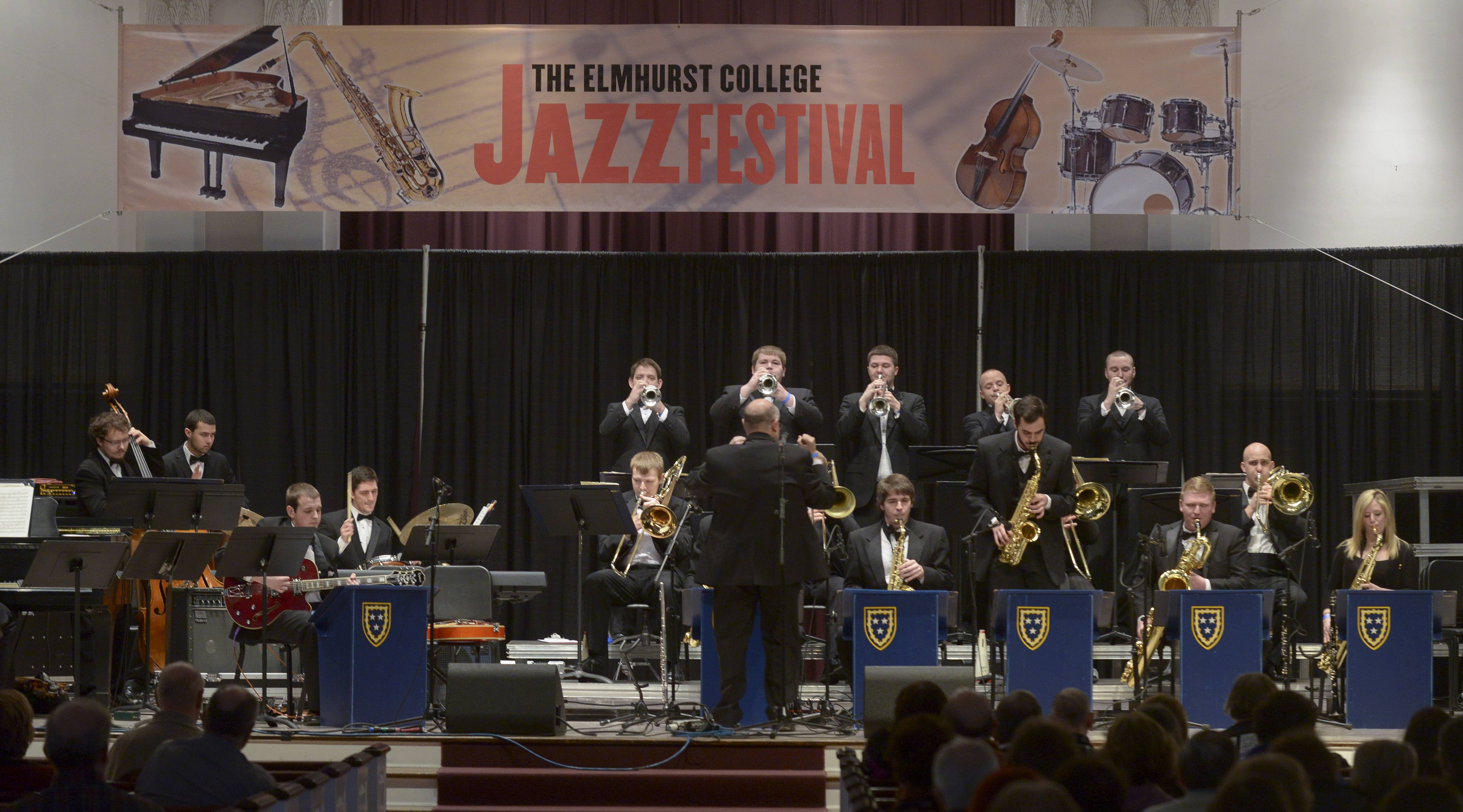 Members of Kentucky's Murray State University Big Band ensemble performs Sunday during the 47th annual Elmhurst College Jazz Festival. The prestigious fest draws high school, college and professional musicians from across the Midwest.