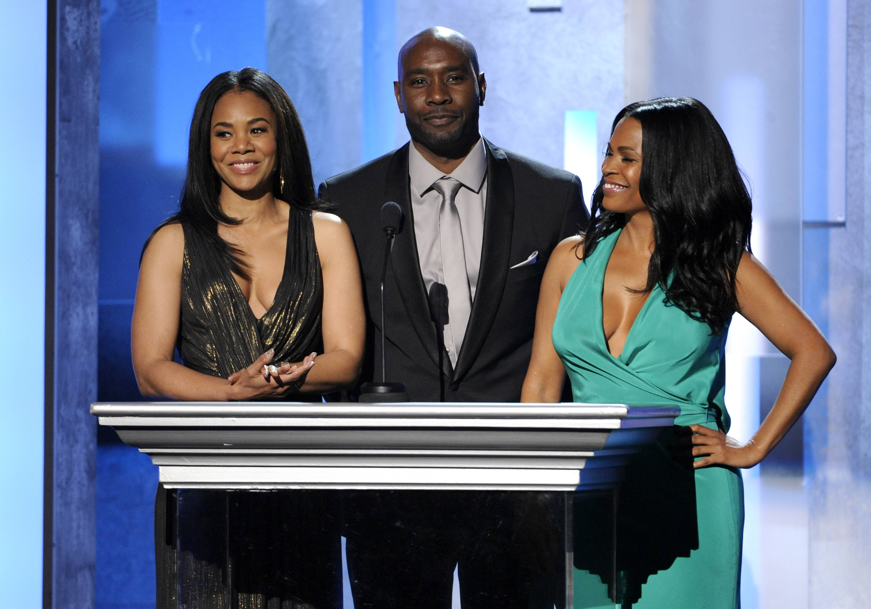 From left, Regina Hall, Morris Chestnut, and Nia Long speak on stage at the 45th NAACP Image Awards at the Pasadena Civic Auditorium on Saturday in Pasadena, Calif.