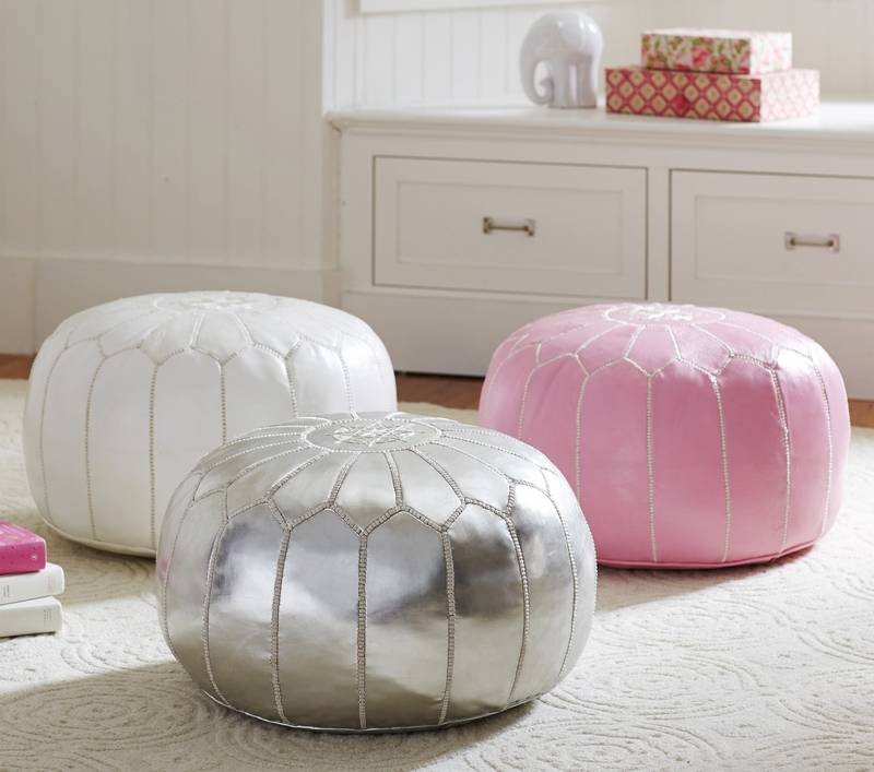 Moroccan Floor Poufs Adding In A Few Pink Accessories Freshens Great Room Or Living
