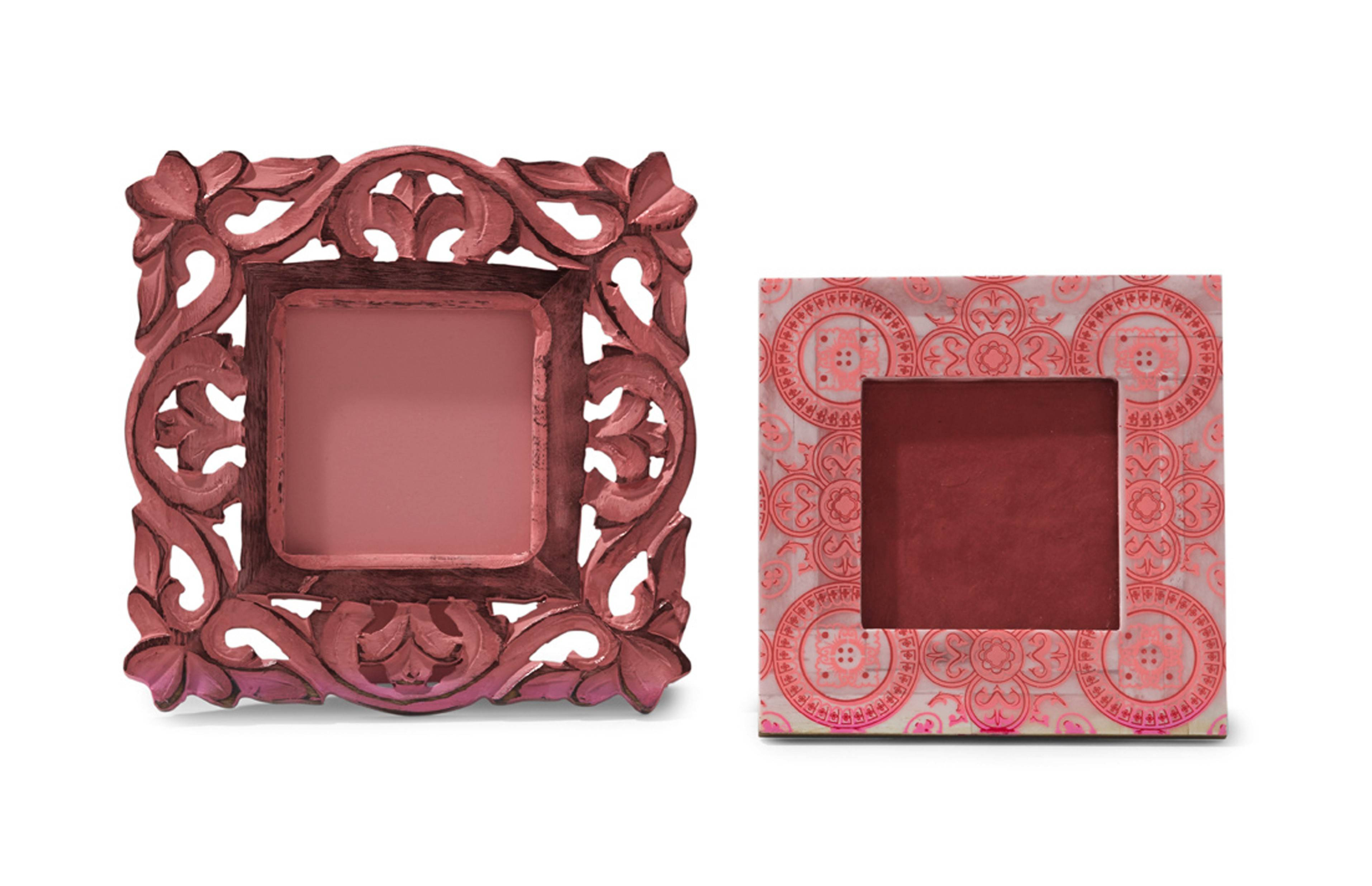 Pink-tinged picture frames in interesting textures and patterns add this color in an easy and interesting way.