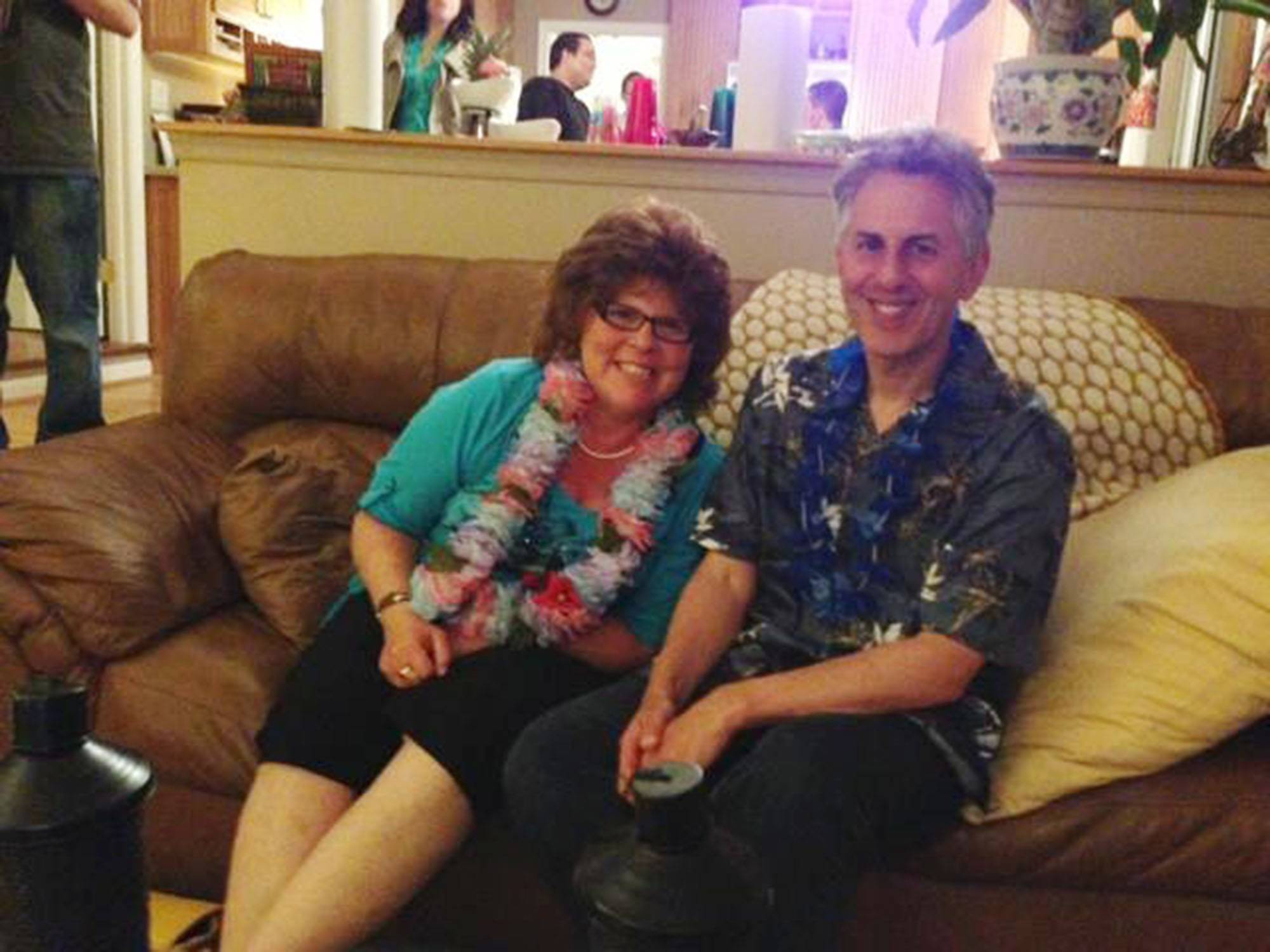 "Saul and Cheryl Schwartz at a party in May 2013; after her diagnosis, living with cancer became the ""new normal,"" Saul says."