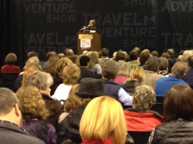Pauline Frommer speaks at The Travel & Adventure Show in Rosemont last month.