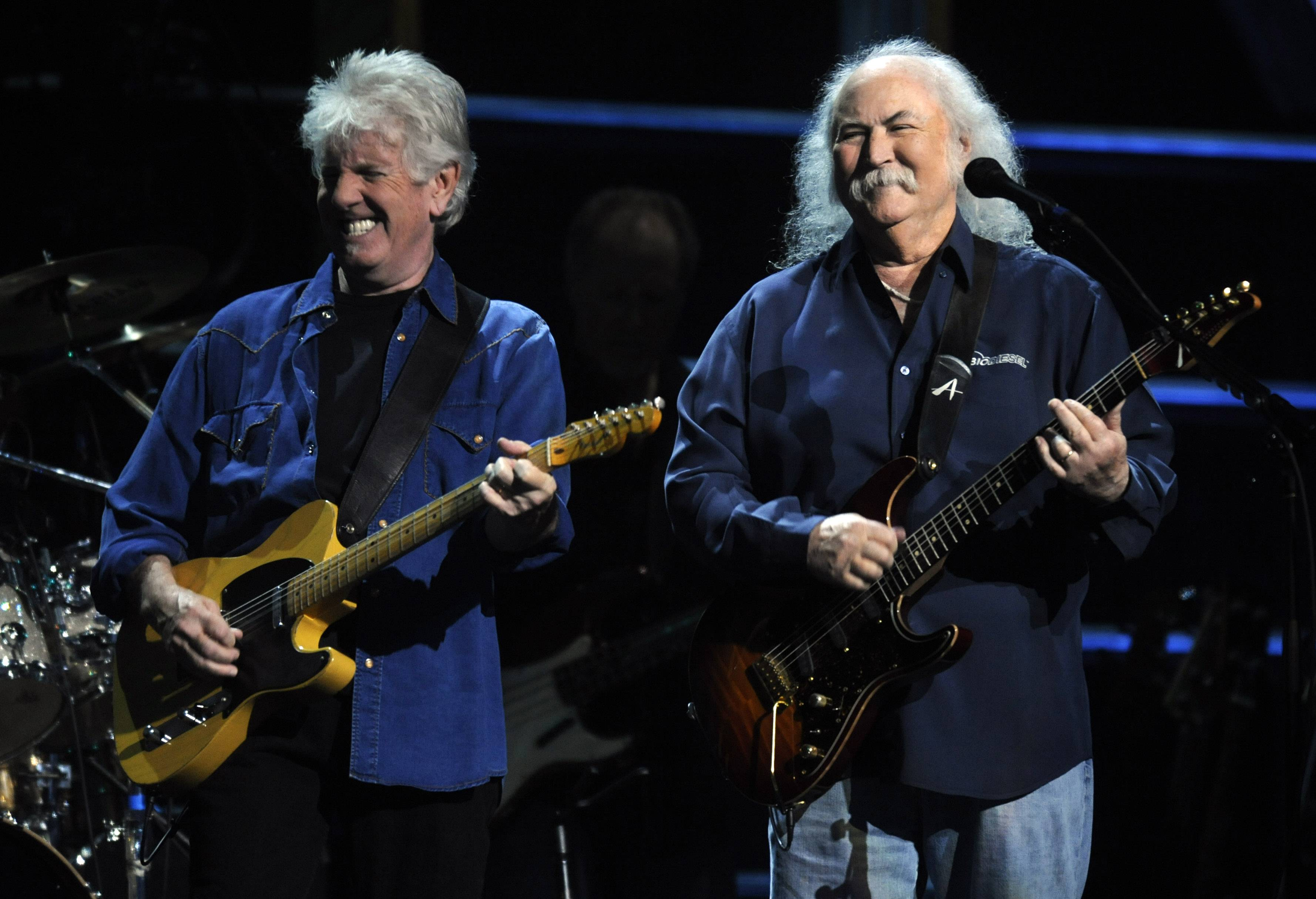 "David Crosby, right, rose to fame as part of Crosby, Stills and Nash, also featuring Graham Nash, left. Crosby recently released a solo album called ""Croz."""