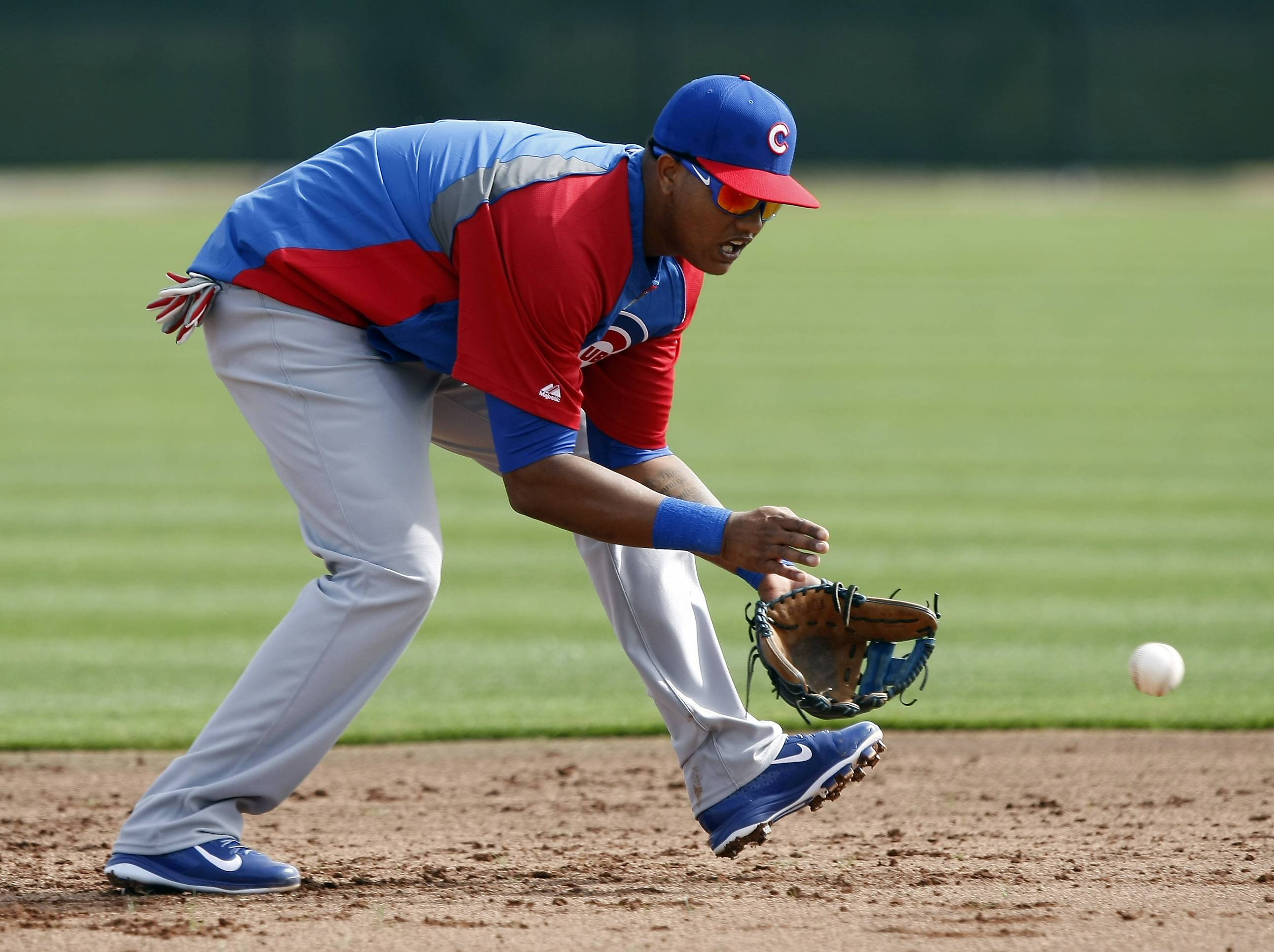 Cubs shortstop Starlin Castro fields groundballs during spring-training practice.