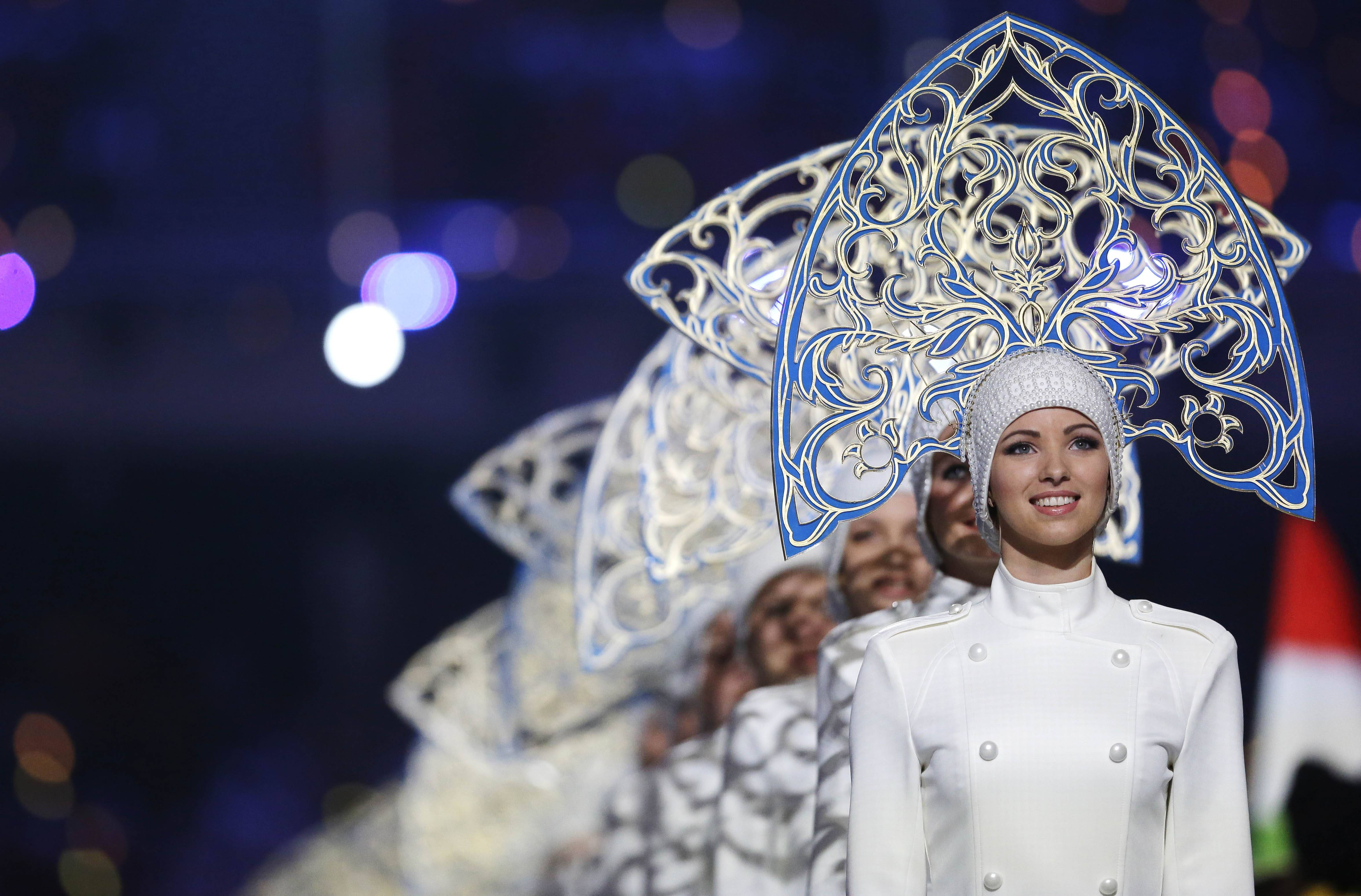 Performers line up during the closing ceremony of the 2014 Winter Olympics, Sunday, Feb. 23, 2014, in Sochi, Russia.