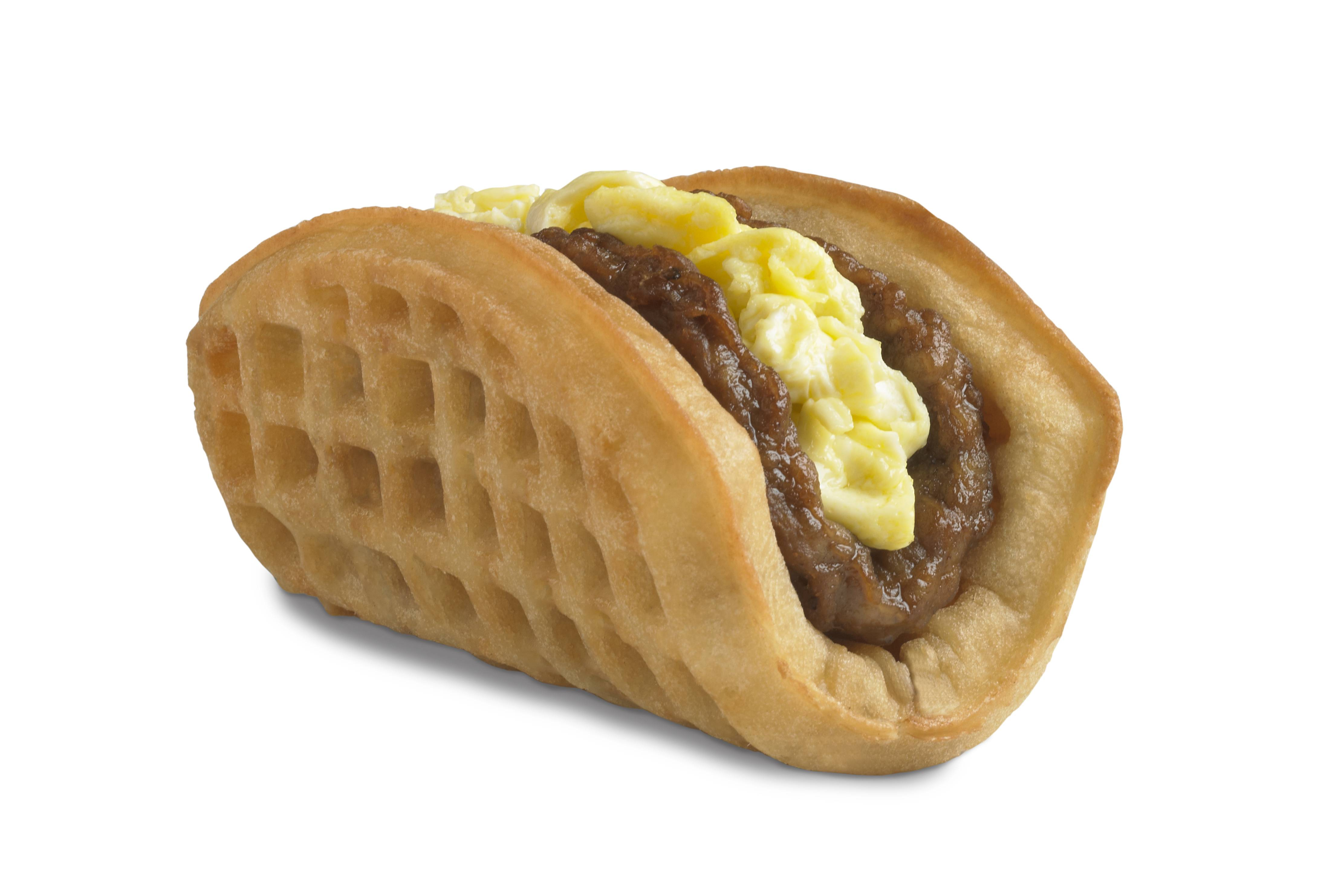 This is Taco Bell's waffle taco, which includes scrambled eggs, sausage and a side of syrup. It was the top seller during breakfast hours at the five Southern California restaurants where they were tested earlier this year.