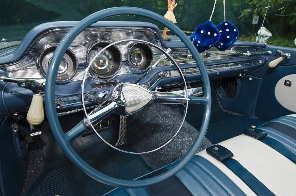The stunning blue and silver interior was overhauled in 2011 and given new upholstery and carpeting.