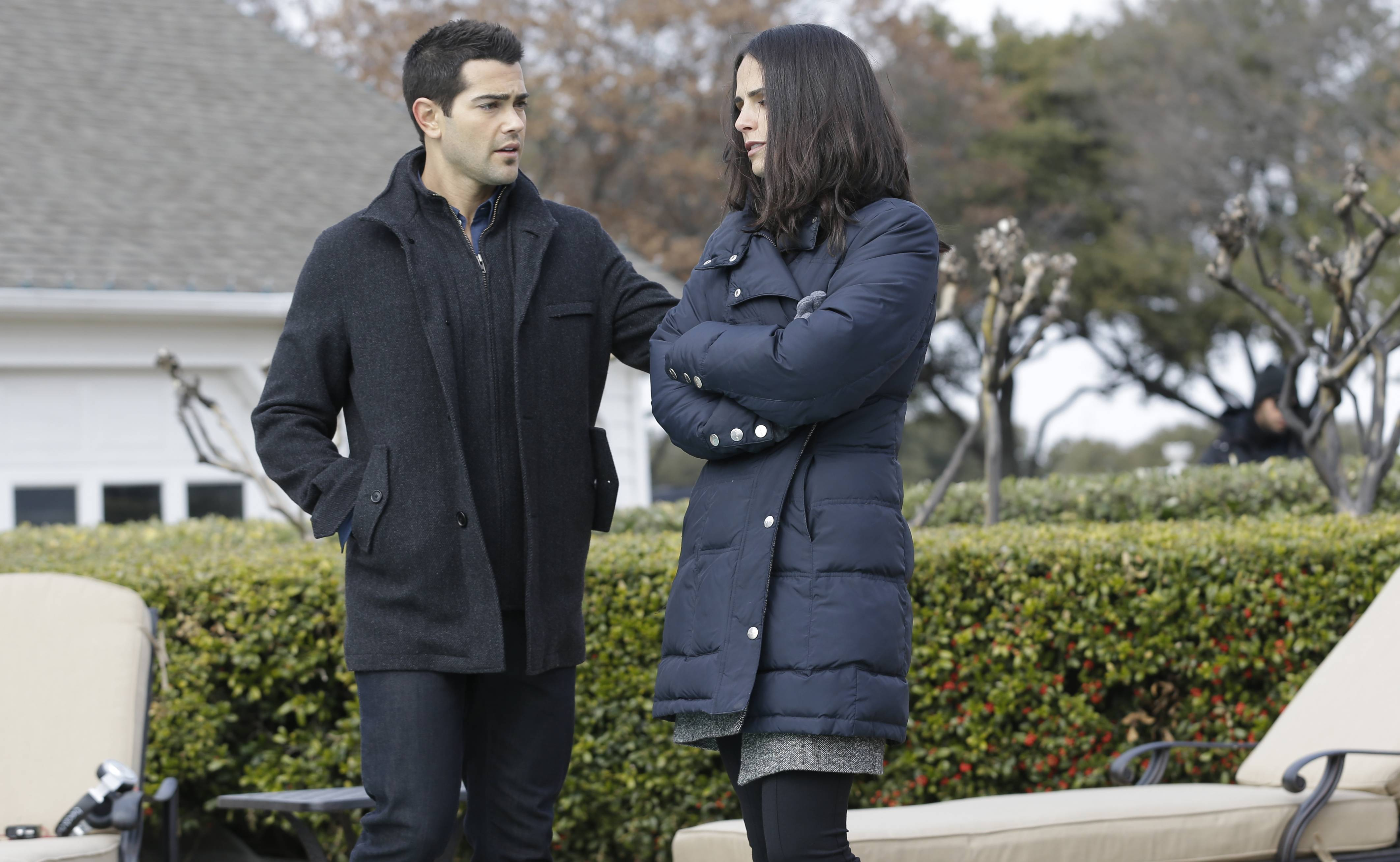 "Jesse Metcalfe and Jordana Brewster rehearse a scene during production of the television series ""Dallas"" at Southfork Ranch in Parker, Texas. The third season of the reboot of the classic series, which premieres Monday, Feb. 24, on TNT, marks the first full season without Larry Hagman, who died of complications from cancer in November 2012 at age 81."