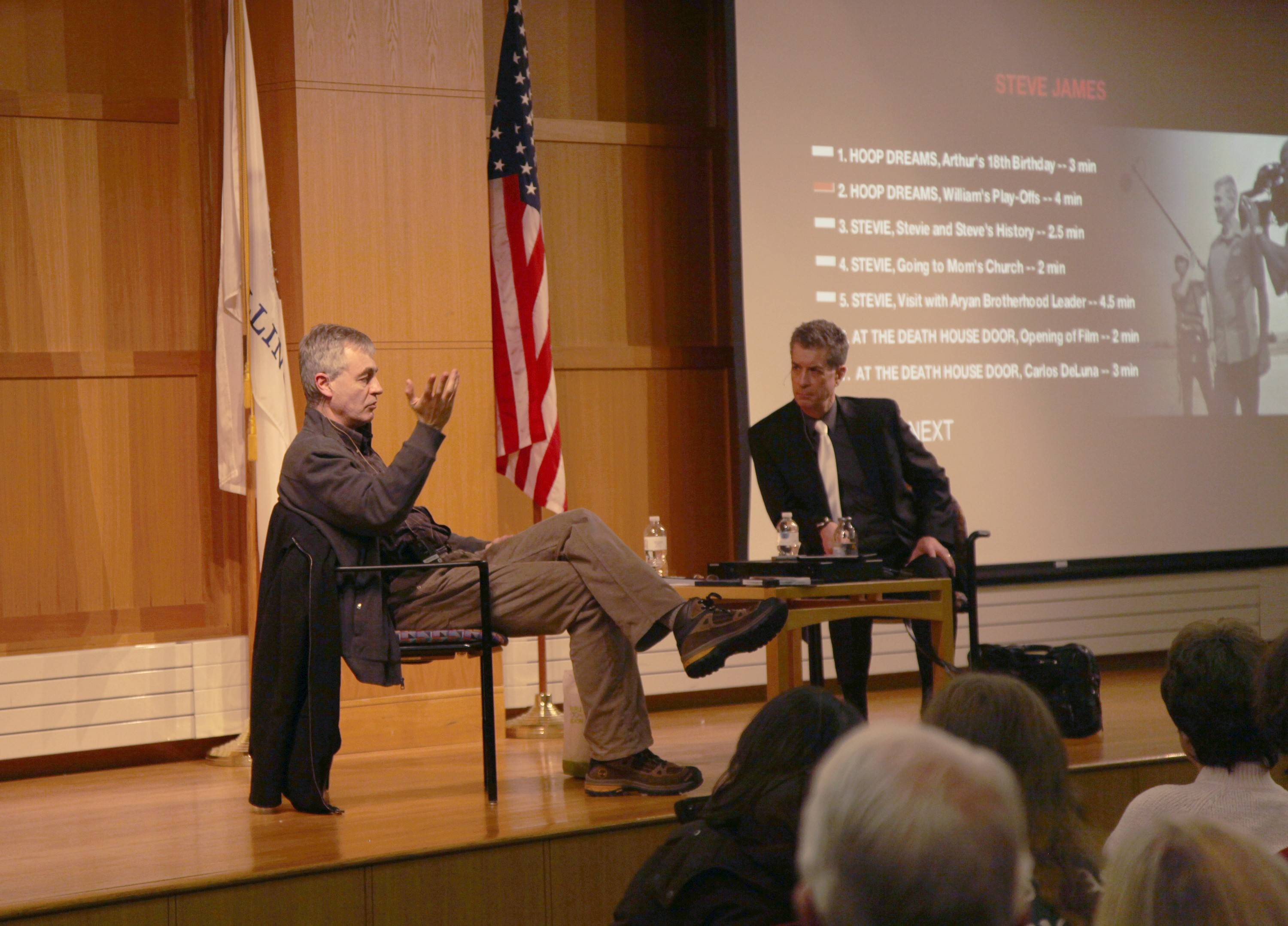 Documentary filmmaker Steve James, left, with Dann Gire, at the Arlington Heights Memorial Library.
