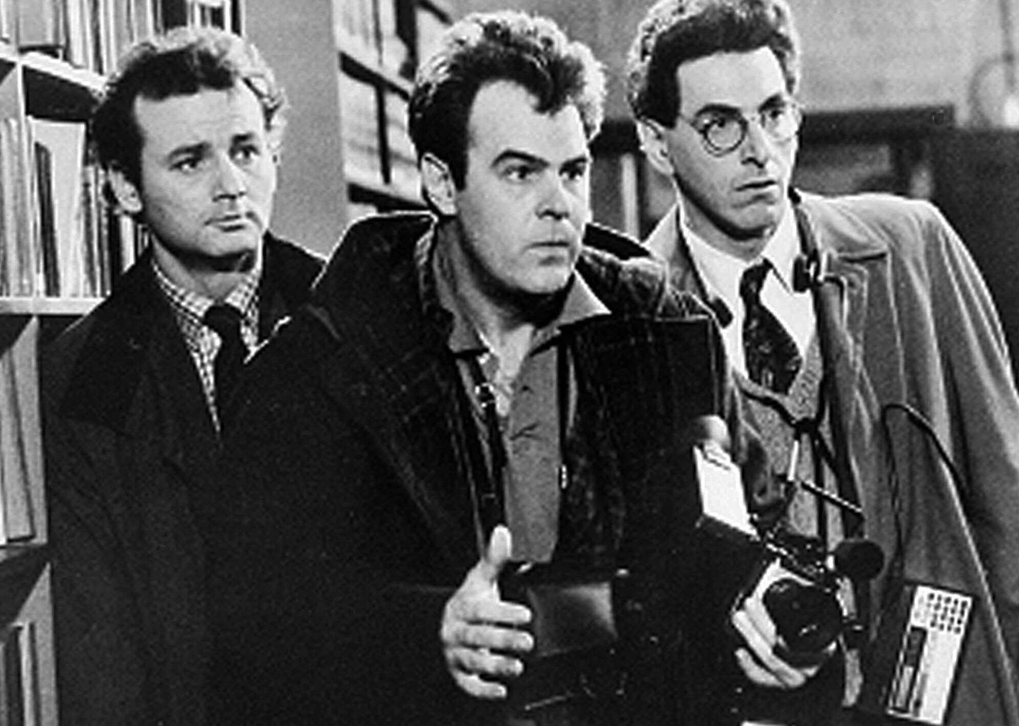 "FILE - In an undated file photo, Bill Murray, Dan Aykroyd, center, and Harold Ramis, right, appear in a scene from the 1984 movie ""Ghostbusters"". Harold Ramis died early Monday, Feb. 24, 2014, in Chicago from complications of autoimmune inflammatory disease, according Fred Toczek , an attorney for Ramis. He was 69."