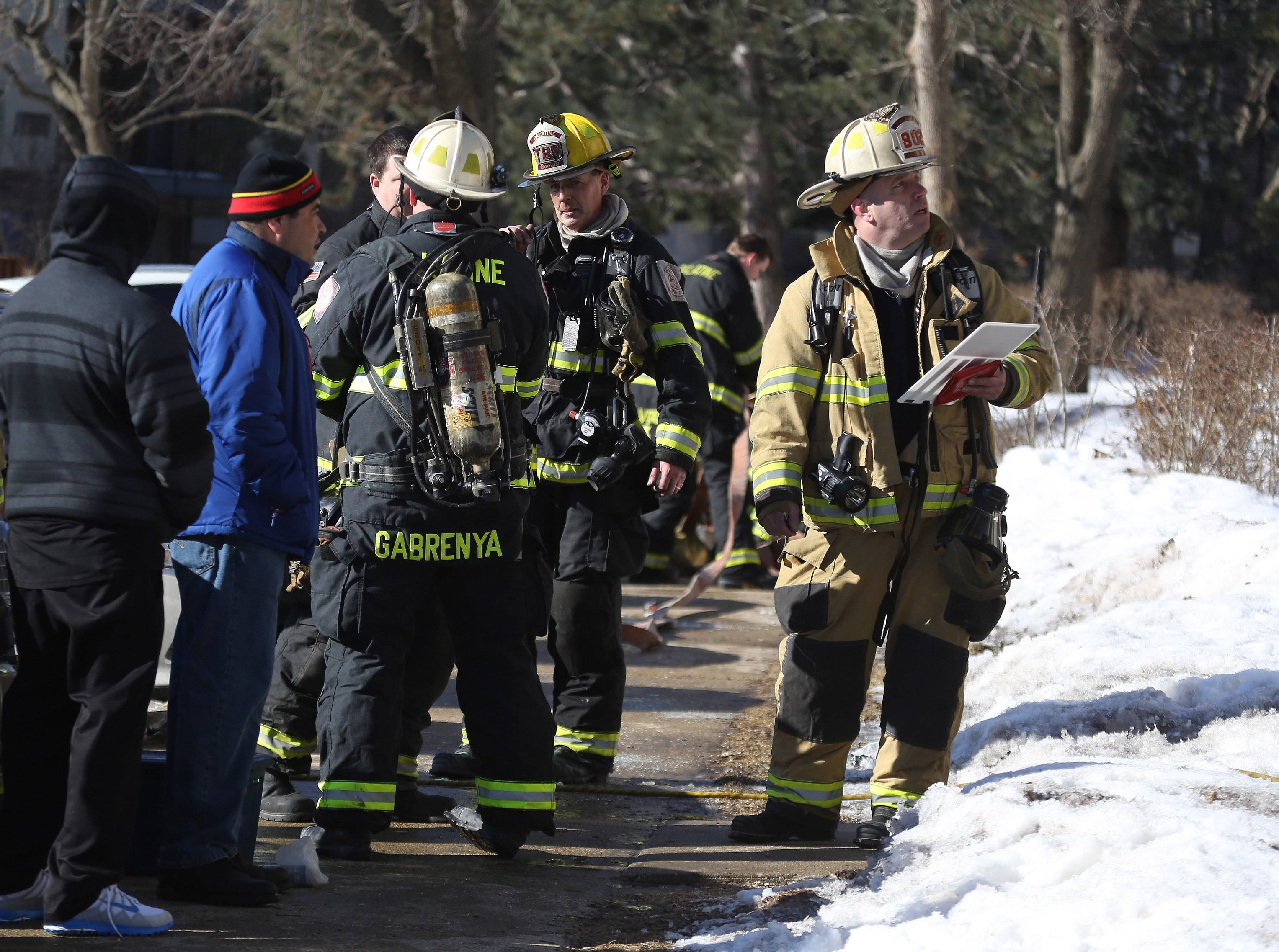 Palatine firefighters responded to a condominium fire Sunday morning at the Brentwood of Palatine Condominiums. The fire at the three-story building was quickly put out by the Palatine Fire Department and no injuries were reported, according to Deputy Chief William Gabrenya.