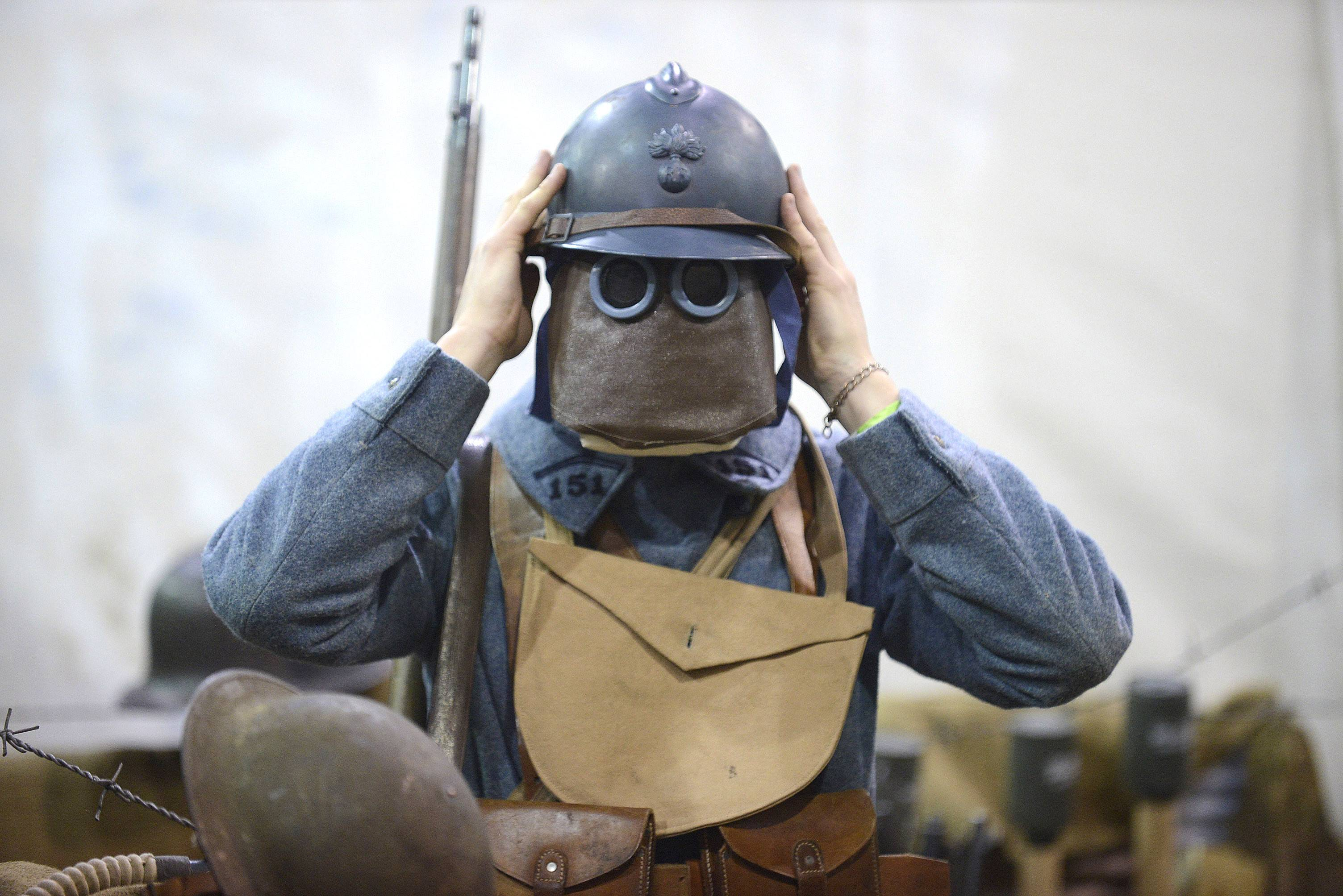Dressed in WWI French infantry soldier wearing a gas mask, Josh Melnychuk of Barrington caught my eye at the recent Military History Fest at the Pheasant Run Resort and Conference Center in St. Charles. To me, the mask made him look like a cross between a Lego character and something out of the Star Wars trilogy, though its design dates back to 1916.