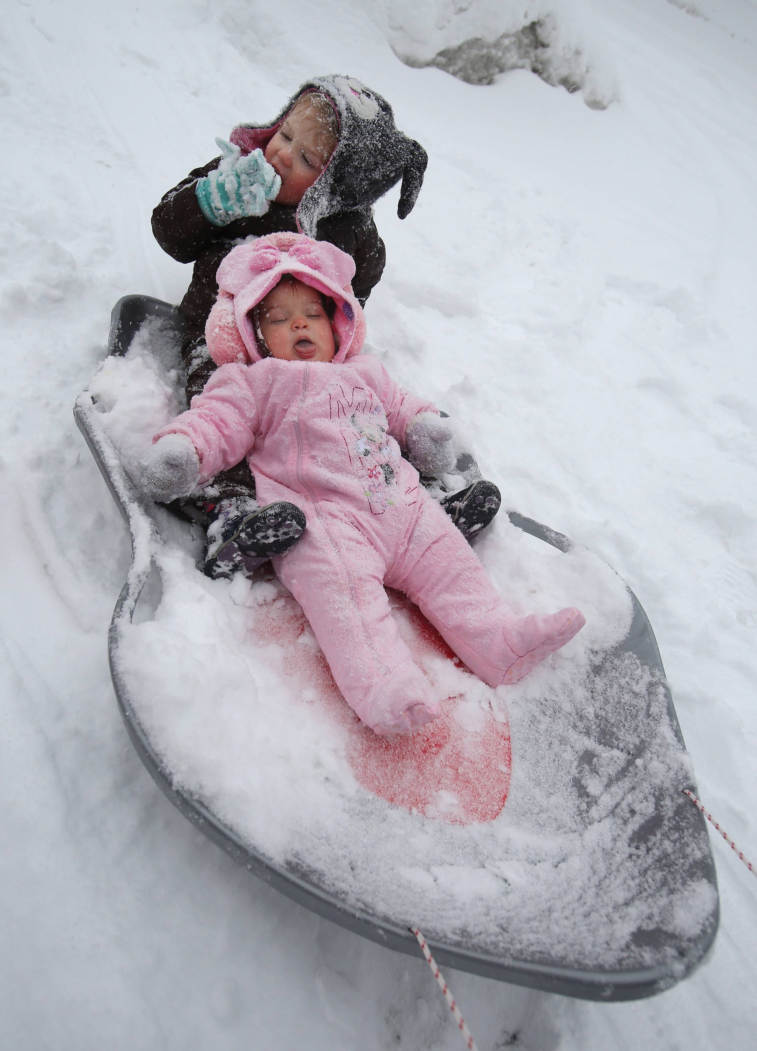 Celia Aronoff, 2, top, and her nine-month-old sister Violet, ride in a sled with her parents, Ryan and Holly, in Vernon Hills Monday as snow came down throughout the day in Lake County.