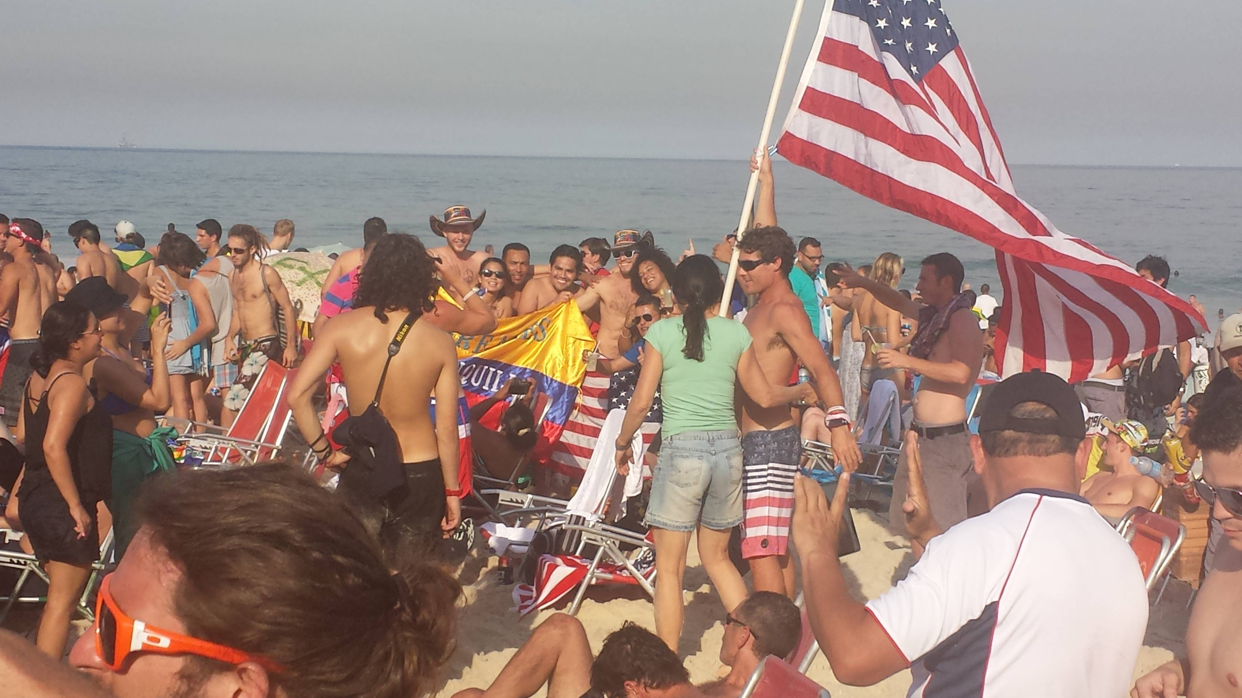 Copacabana beach in Rio de Janeiro was packed with World Cup fans waiting for the start of the USA vs. Germany game on Thursday.