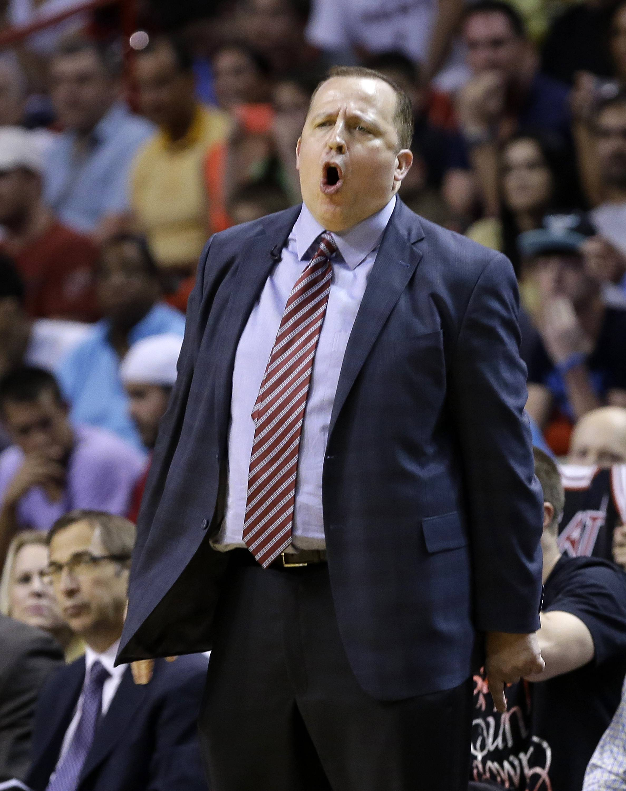 Bulls coach Tom Thibodeau has a few words on the sideline during Sunday's loss to the Heat at Miami.