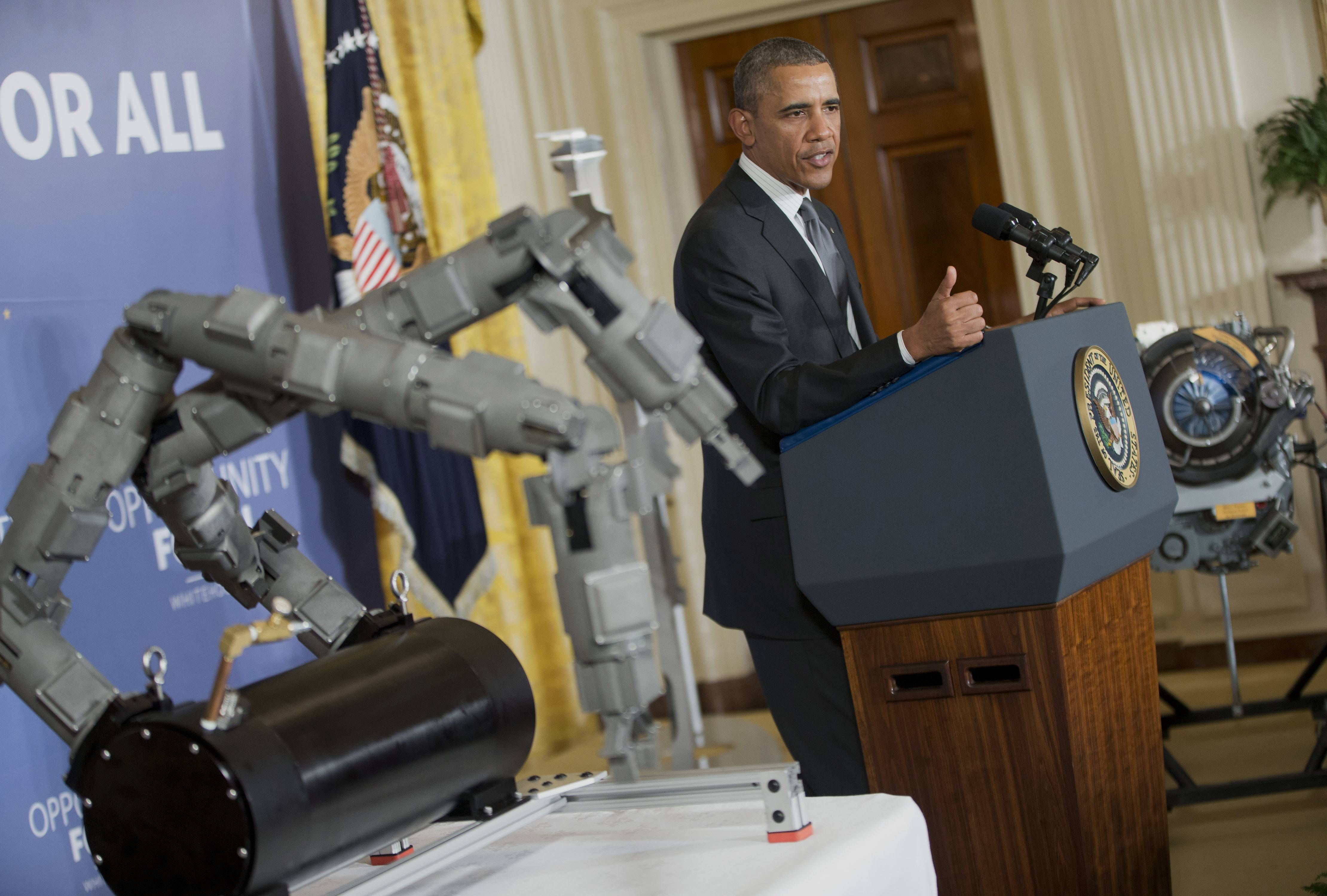 "President Barack Obama, speaking Tuesday at the White House, announced a new Pentagon and private-sector partnership aimed at beefing up advanced manufacturing technology in the U.S. The partnerships are a pair of Defense Department-led ""innovation institutes,"" one in Chicago and the other in Detroit."