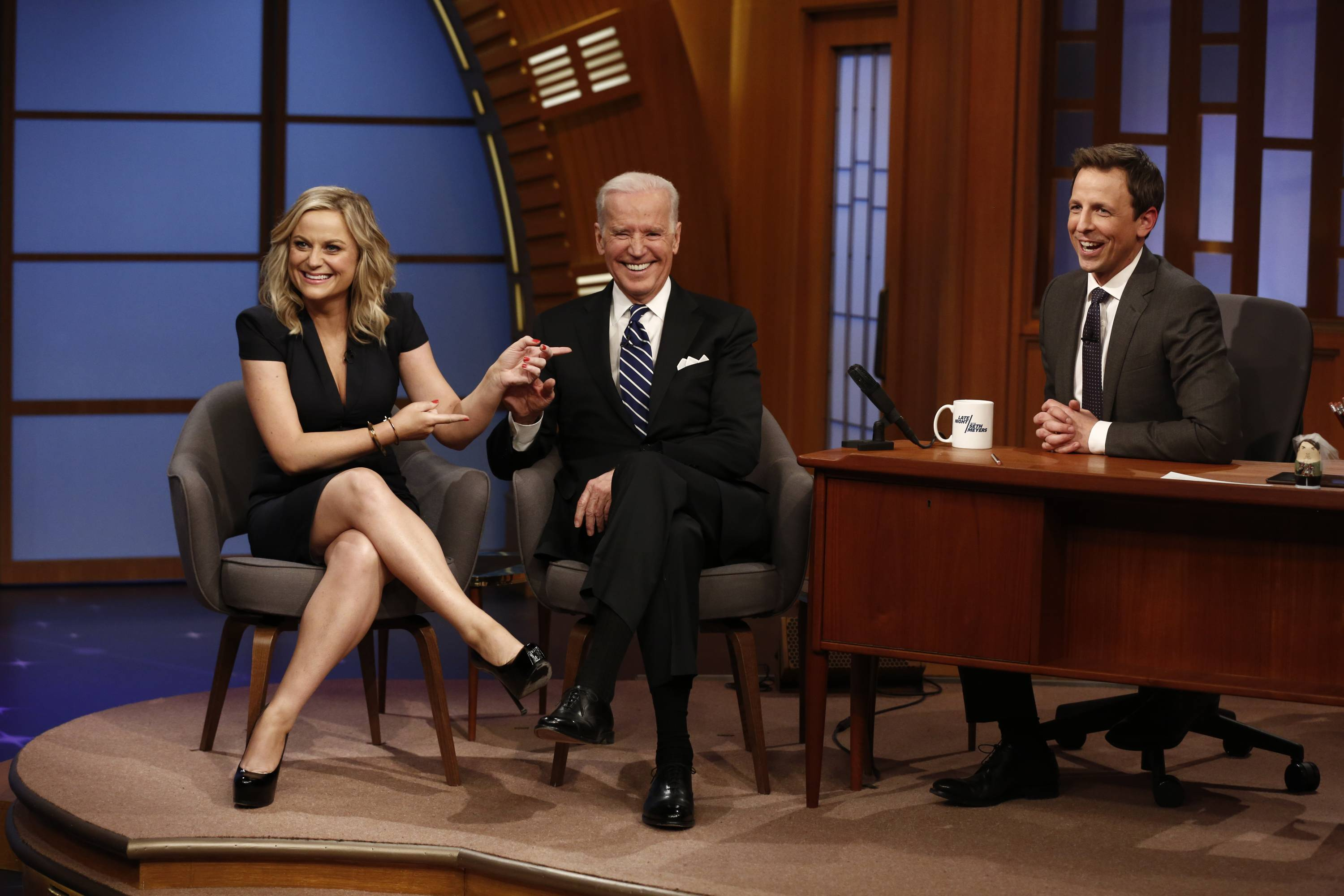 "Amy Poehler and Vice President Joe Biden were the first guests on Seth Meyers' new show, ""Late Night With Seth Meyers,"" on NBC."
