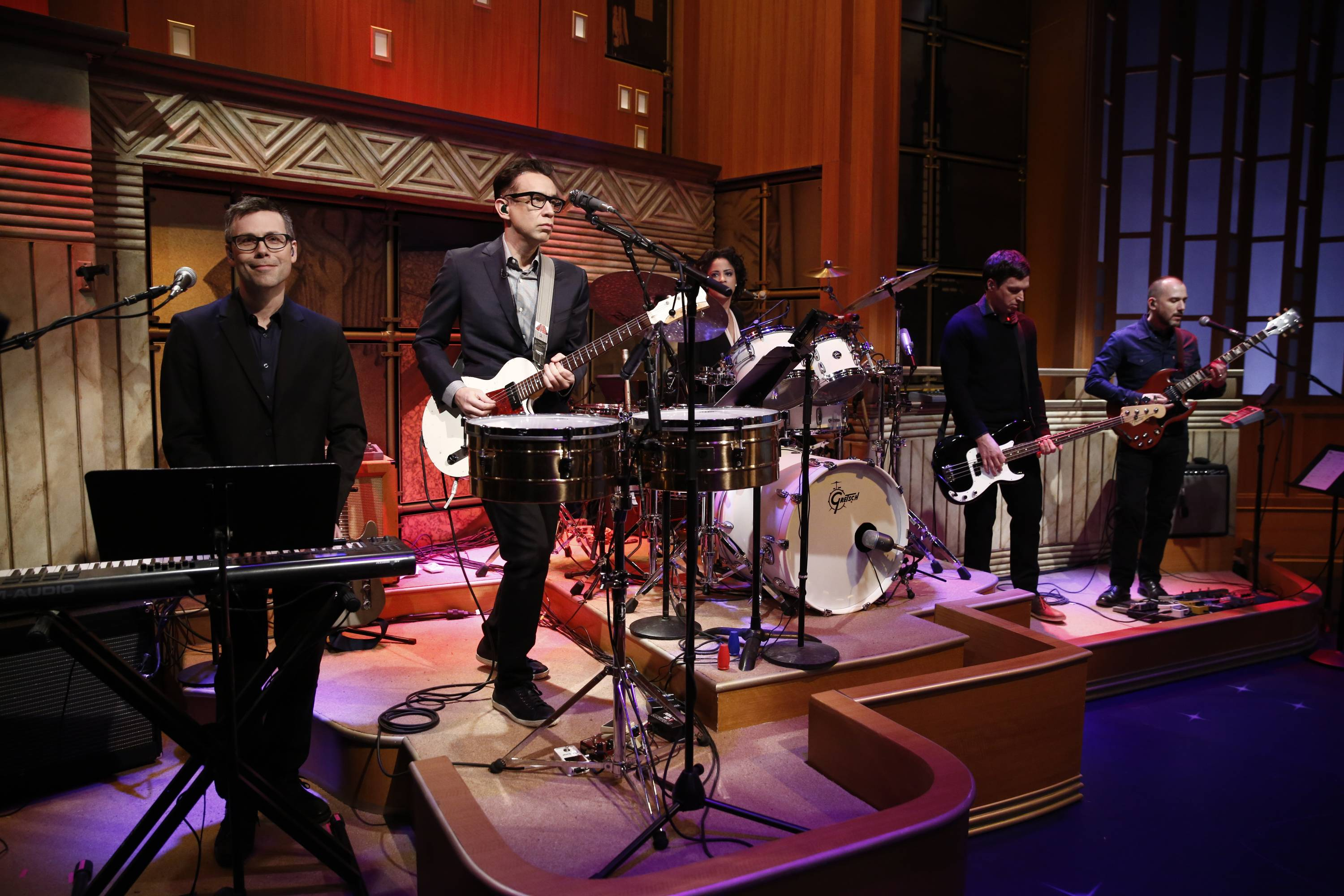 "Fred Armisen, second left, and the 8G Band, Seth Meyers' house band for ""Late Night With Seth Meyers,"" perform on the premiere Monday."