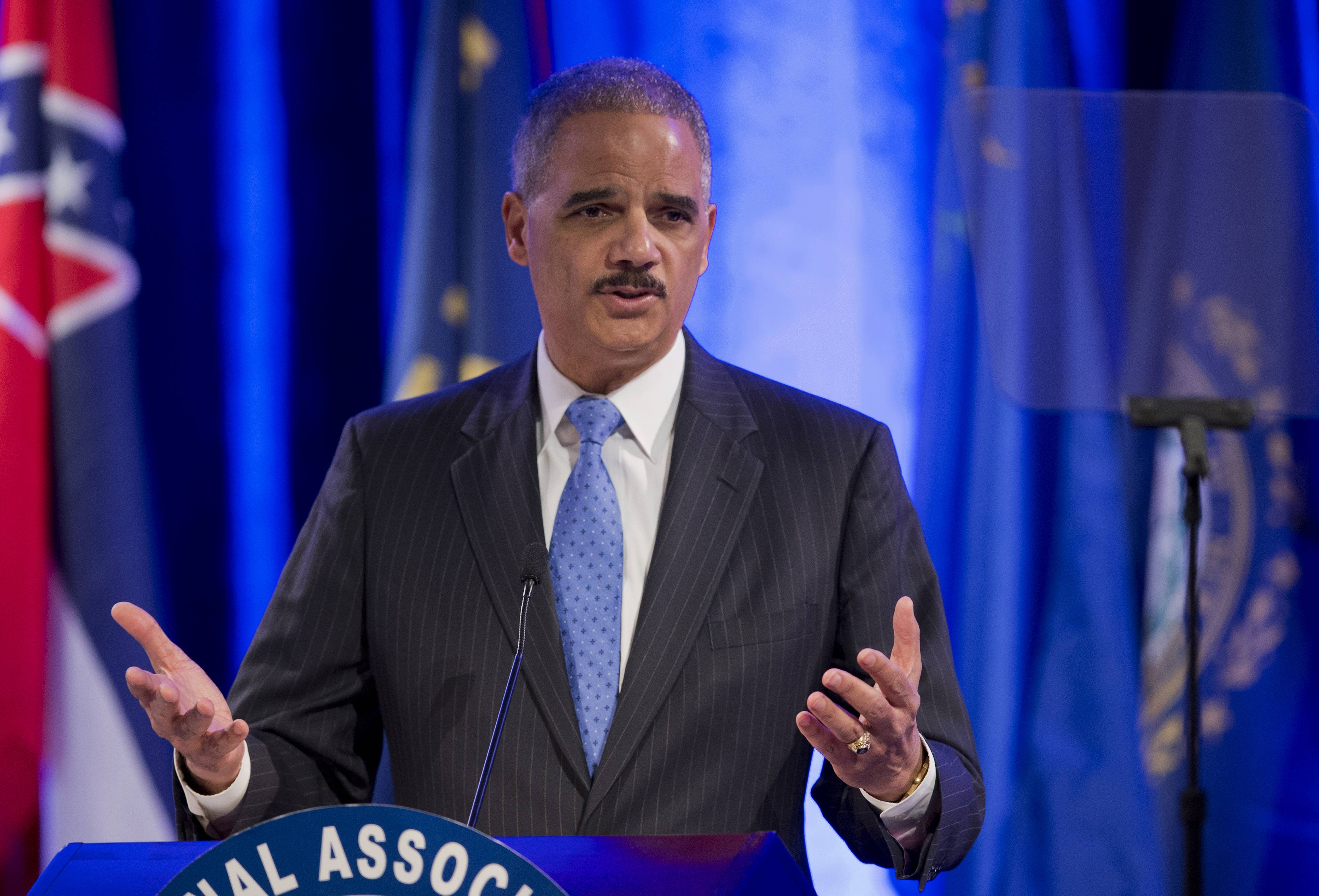 Attorney General Eric Holder, speaking in Washington Tuesday,  said state attorneys general are not obligated to defend laws in their states banning same sex-marriage if they don't believe in them.