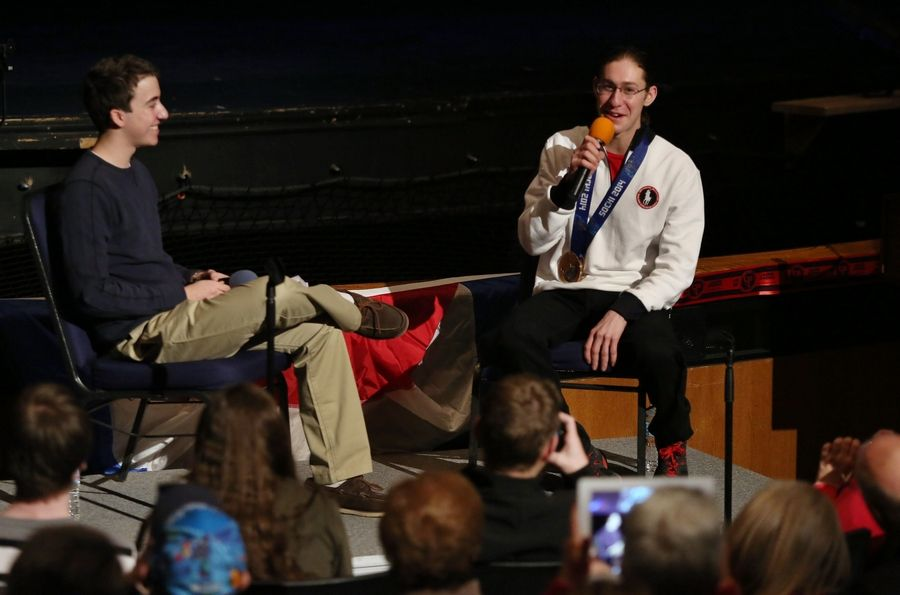 Figure skater Jason Brown answers questions about being in the Winter Olympics and his bronze medal as he was welcomed home in a ceremony Tuesday at Highland Park High School.