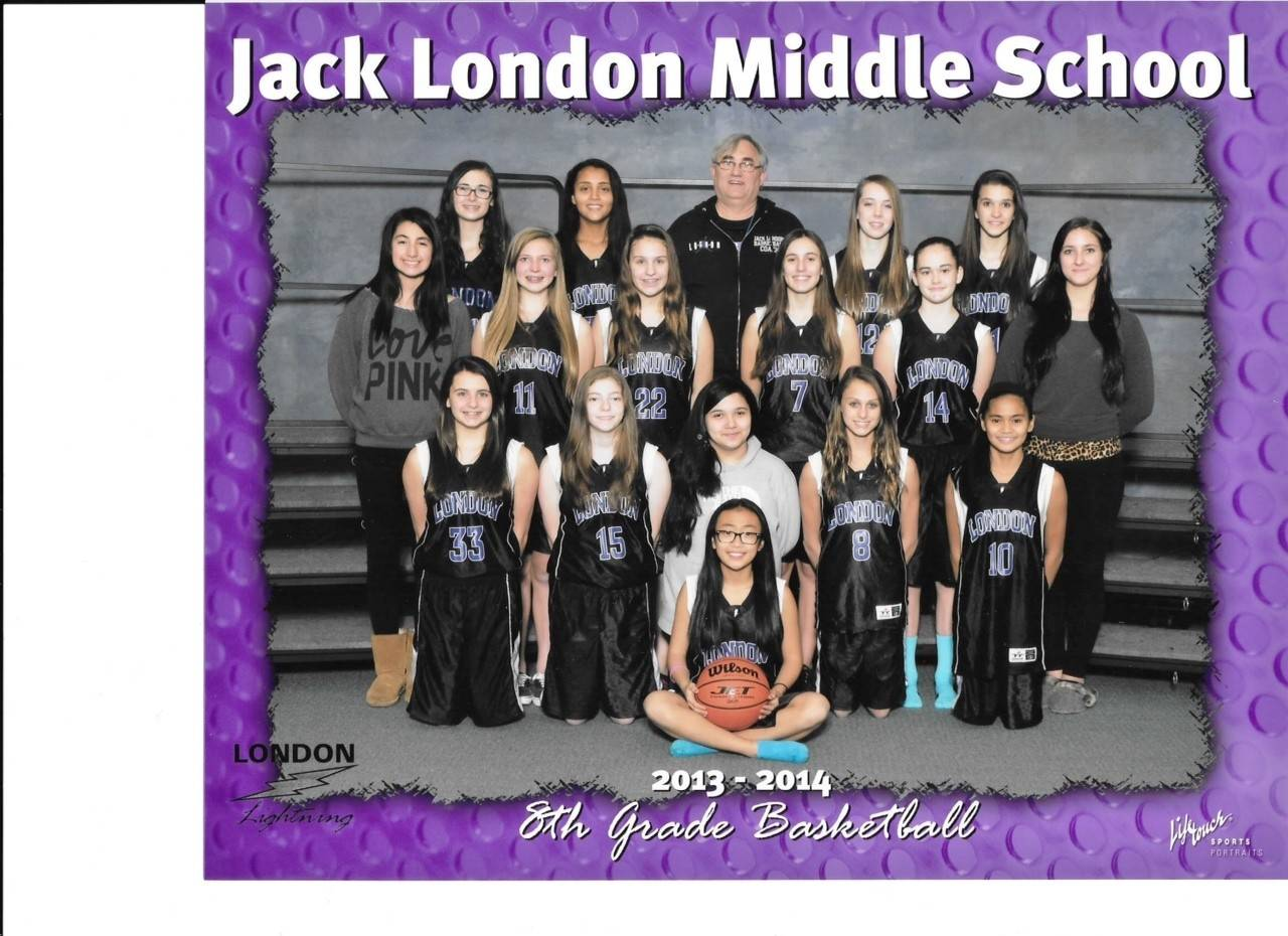 The 2013 eighth-grade girls basketball team from Jack London Middle School, from left, are: Top row: Elise Malin, Alondra Arreola, Coach Bill Henderson, Kate Godley and Amelia Bryja; middle row: Manager Stephanie Flores, Alyssa Peterson, Sara Cesek, Katelyn O'Rourke, Sydney Straub and manager Mante Nesteckyte; bottom row: Jaime Wahout, Sarah Katz, manager Sammy Slezak, Nansy Velev and Alyssa Paronia; last row: Rui Luken. Not pictured, Gaby Arias.