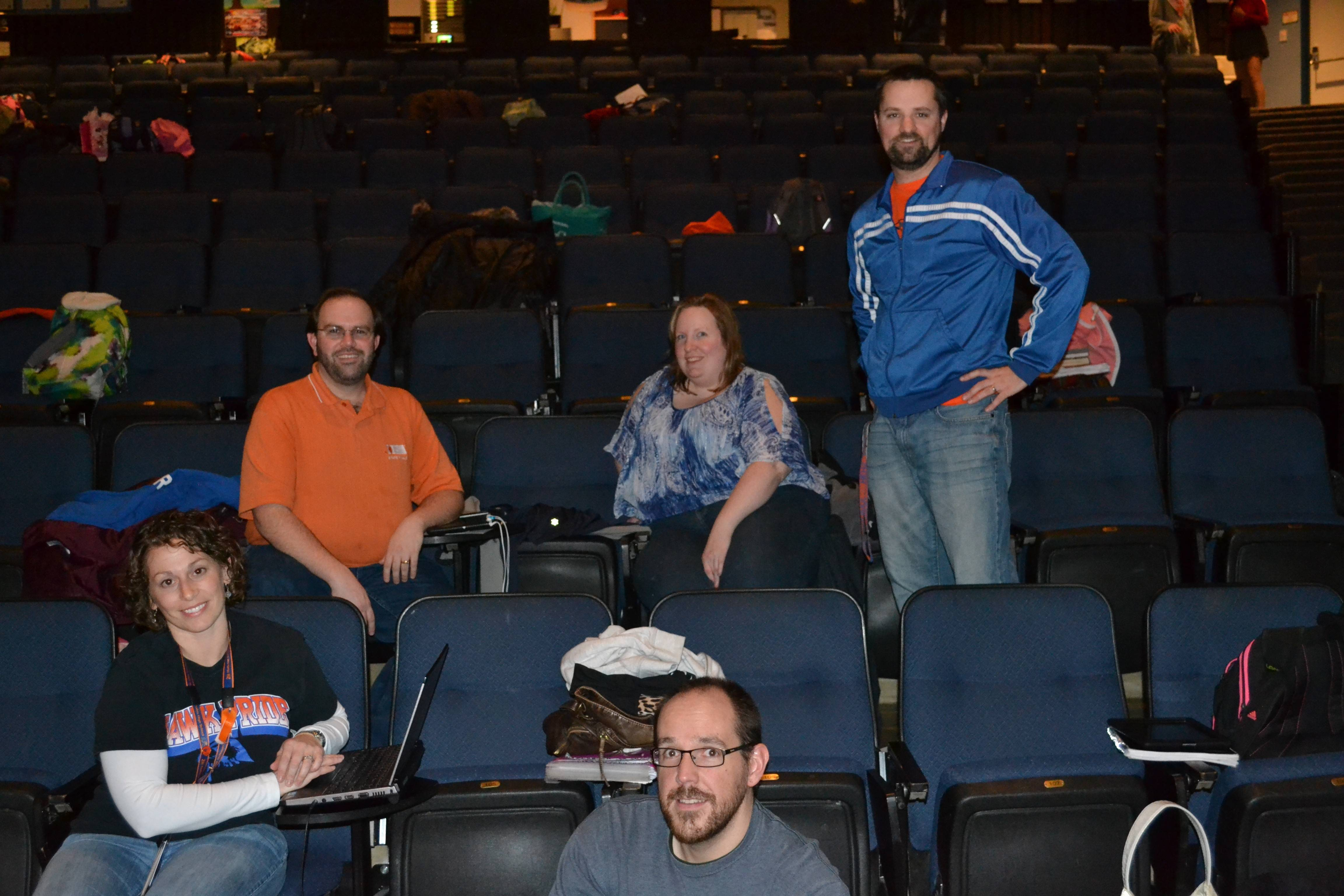 "Working behind the scenes at the Hoffman Estates High School's production of ""Annie"" are, from left: Laura Mallon, choreographer; Matthew Schlesinger, musical director; Jason Stevens, director; Christina Ordonez, costume and makeup director; and Matthew Dowd, producer."