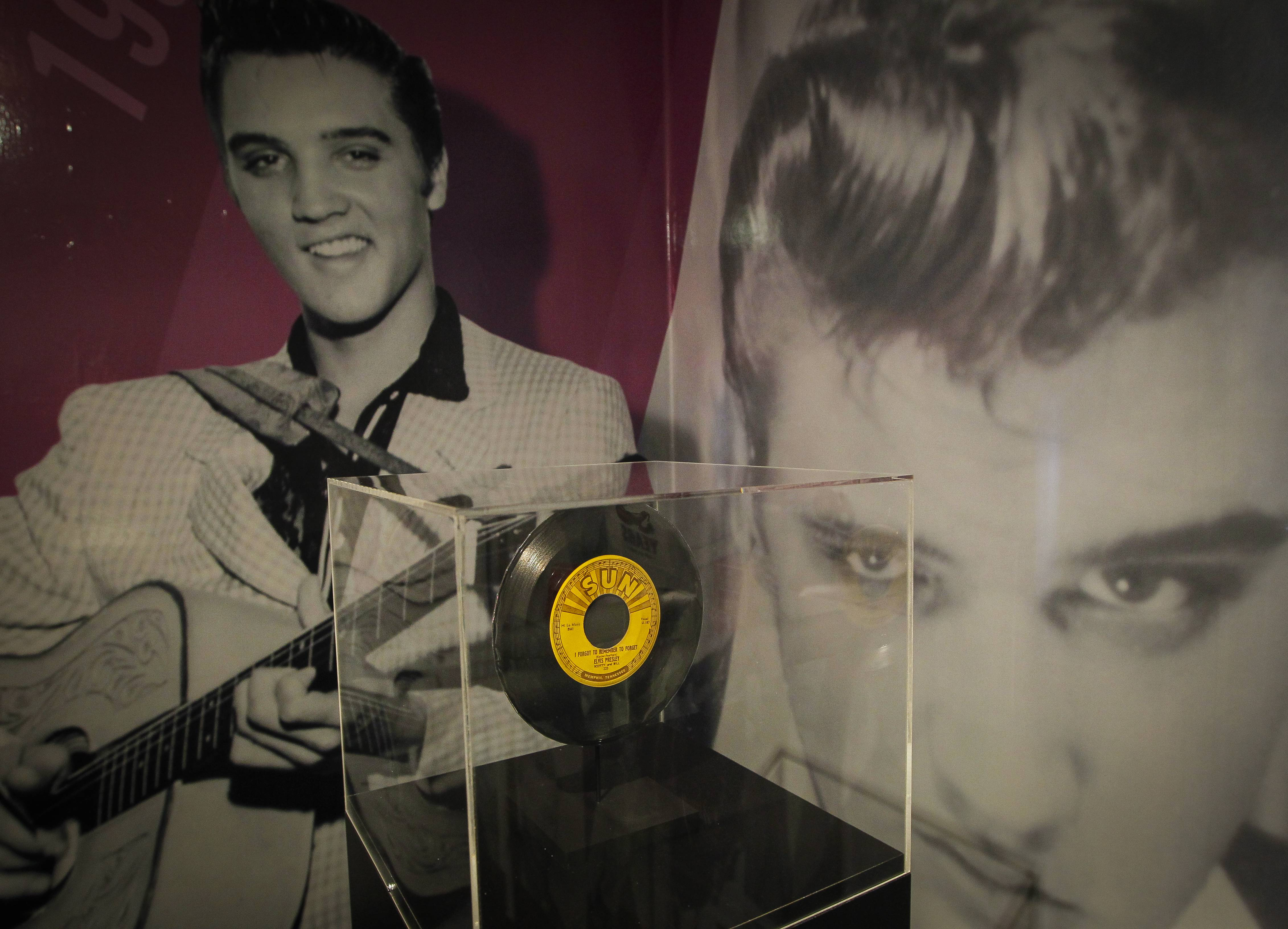 "A 45 rpm record of ""I forgot to remember to forget"" is one of the items in a new ""60 years of Elvis"" exhibit in an annex at Graceland in Memphis, Tenn."