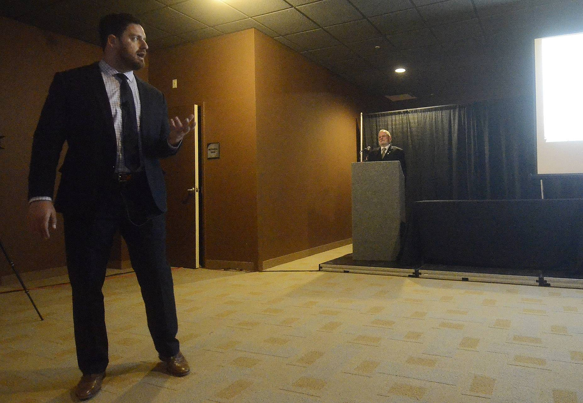 Sears Centre General Manager Ben Gibbs gives an update on the arena Wednesday to members of the Hoffman Estates Chamber of Commerce. Gibbs said arena revenues have exceeded budget projections every year since 2010.