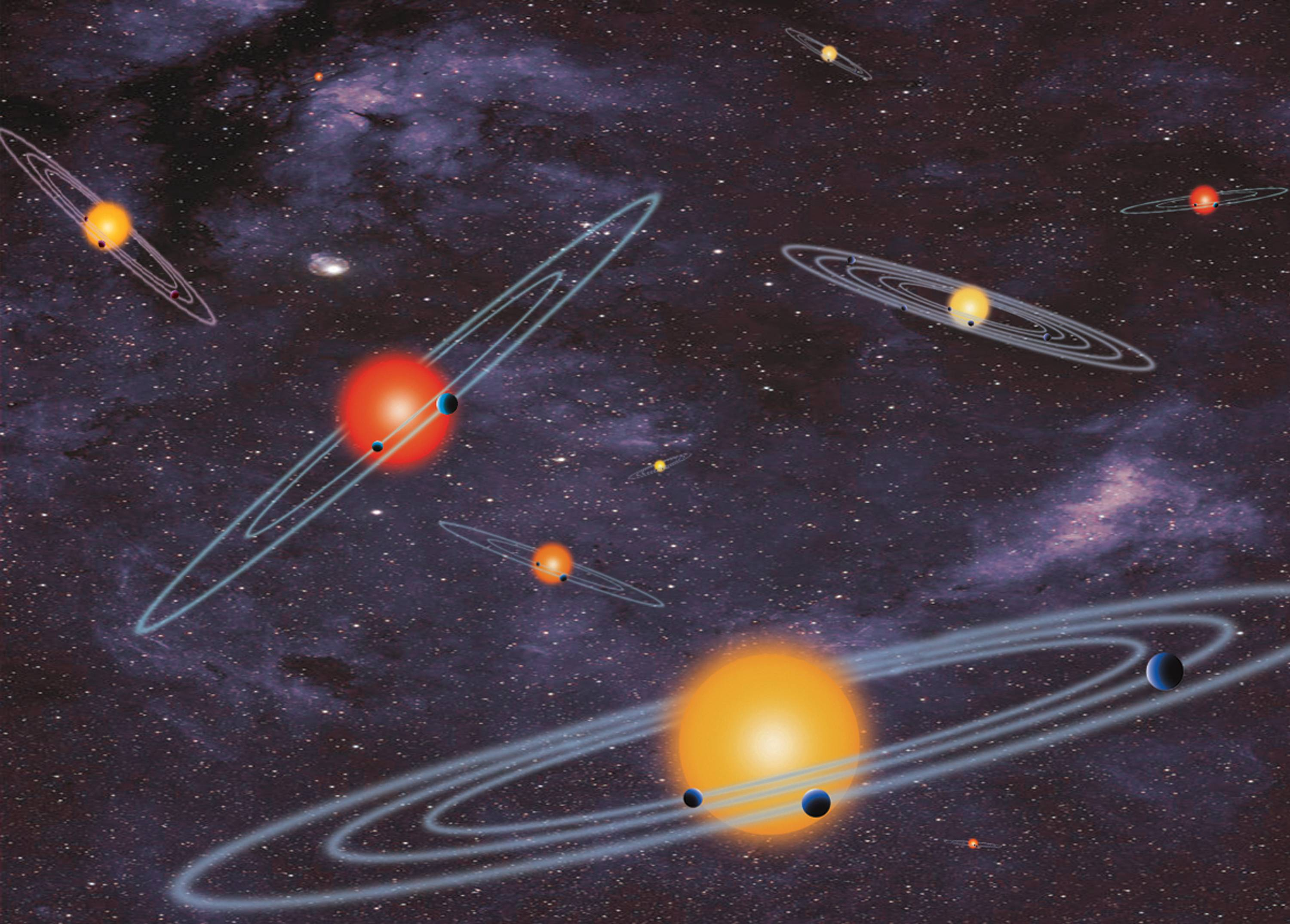 This handout artist conception provided by NASA depicts multiple-transiting planet systems, which are stars with more than one planet. The planets eclipse or transit their host star from the vantage point of the observer. This angle is called edge-on. Our galaxy is looking far more crowded as NASA Wednesday confirmed a bonanza of 715 newly discovered planets circling stars other than our sun.