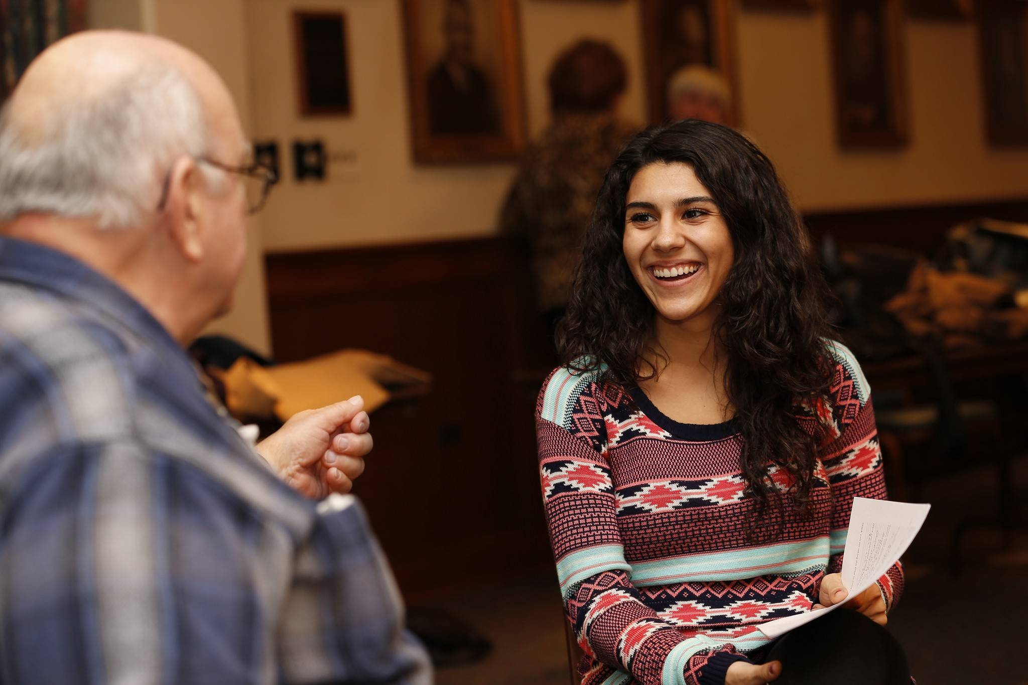 Nicolette Quagliata, a North Central College sophomore from Bartlett, chats with Jerry Robbins during a recent visit to Monarch Landing, a Naperville retirement community. Roughly 20 North Central students have been establishing relationships for sharing advice, gaining historical perspectives and building friendships.