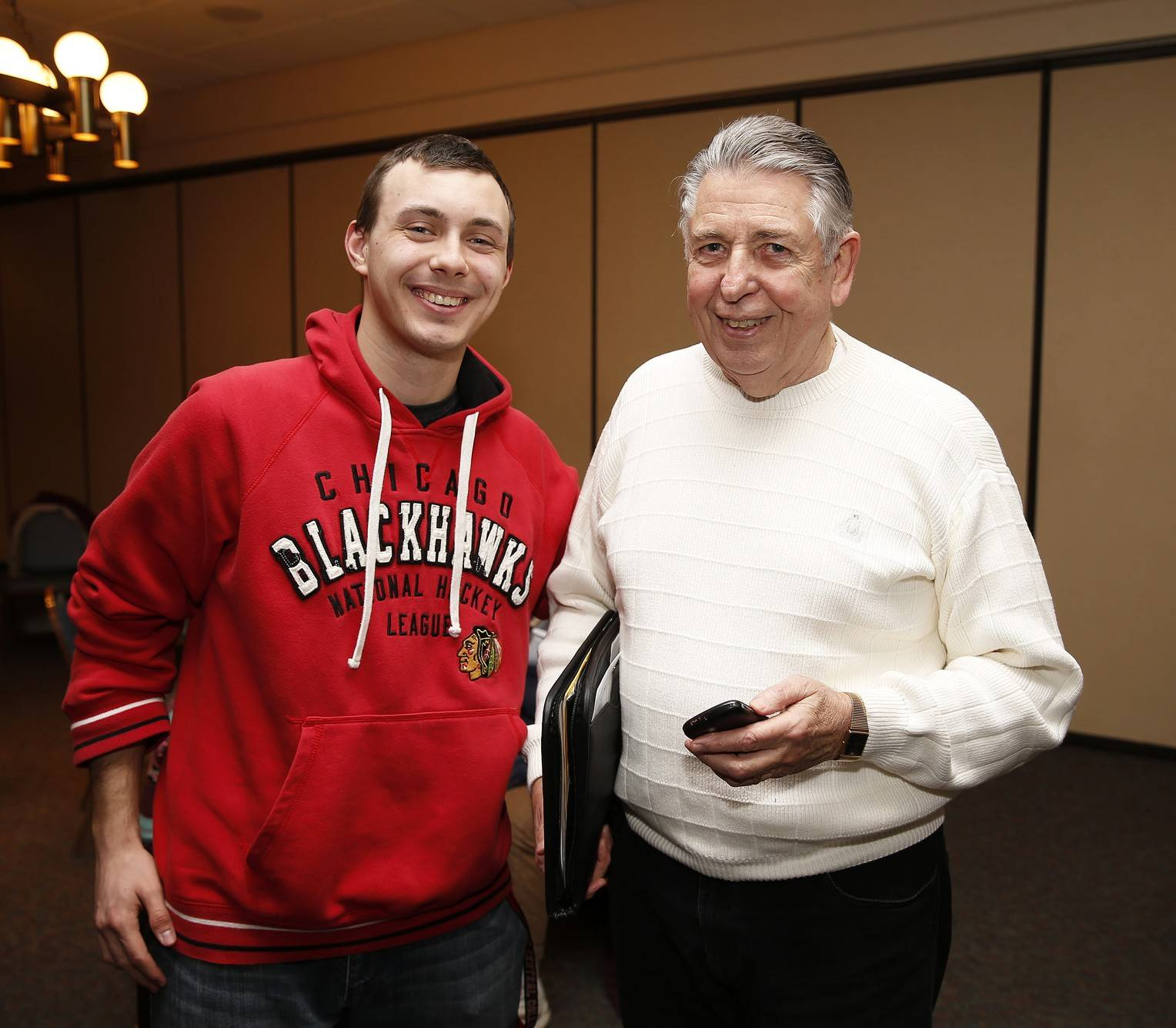 Jack Mikolajczyk, a North Central College junior from Elk Grove Village, meets with Bob Rickert at Monarch Landing in Naperville. Rickert has been providing leadership for a program in which roughly 20 NCC students regularly meet with residents of the retirement community to chat, share ideas and pick their brains.