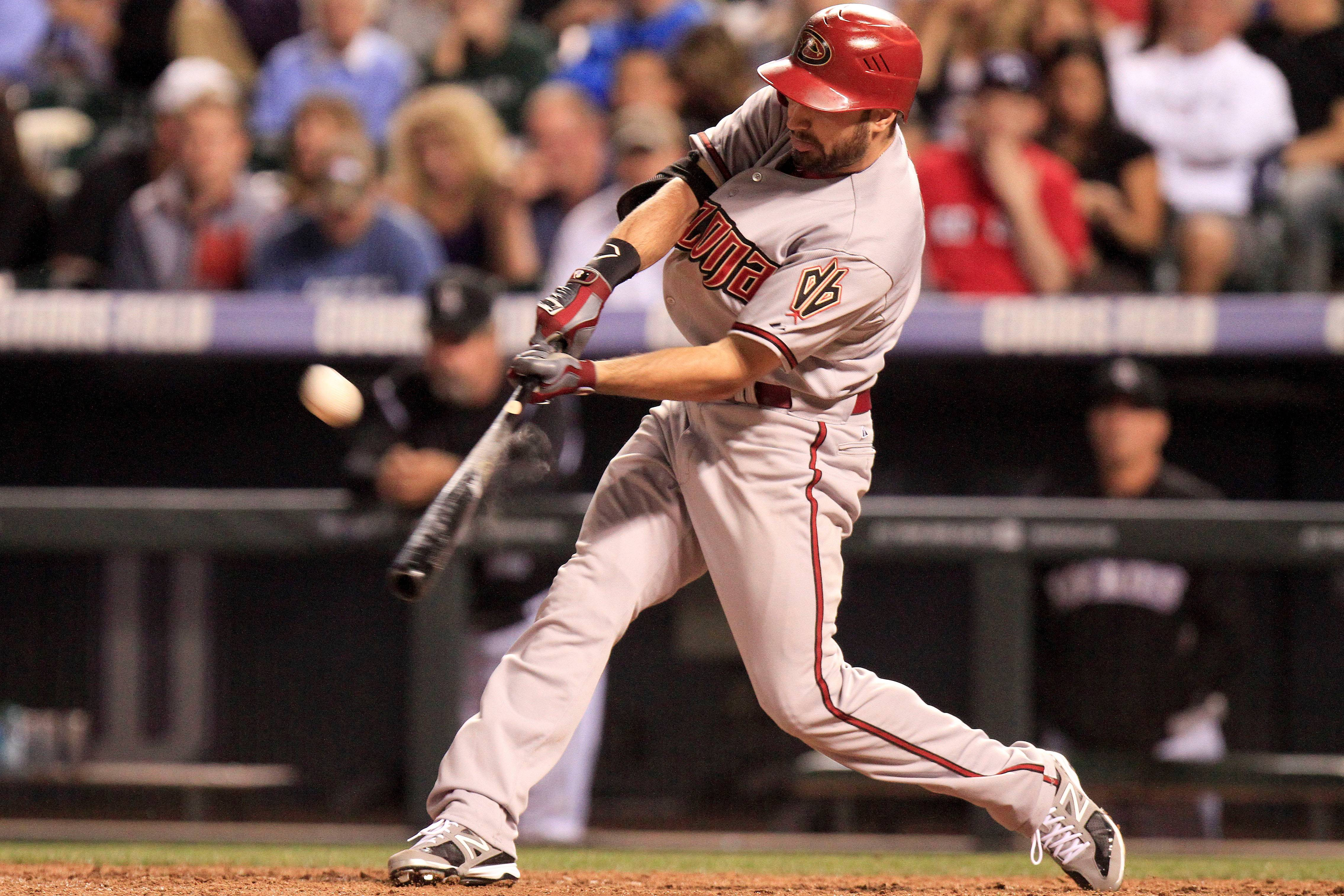 Arizona Diamondbacks' Adam Eaton hits a home run during the sixth inning of a baseball game against the Colorado Rockies Friday, Sept. 21, 2012 in Denver. The Diamondbacks won 15-5.