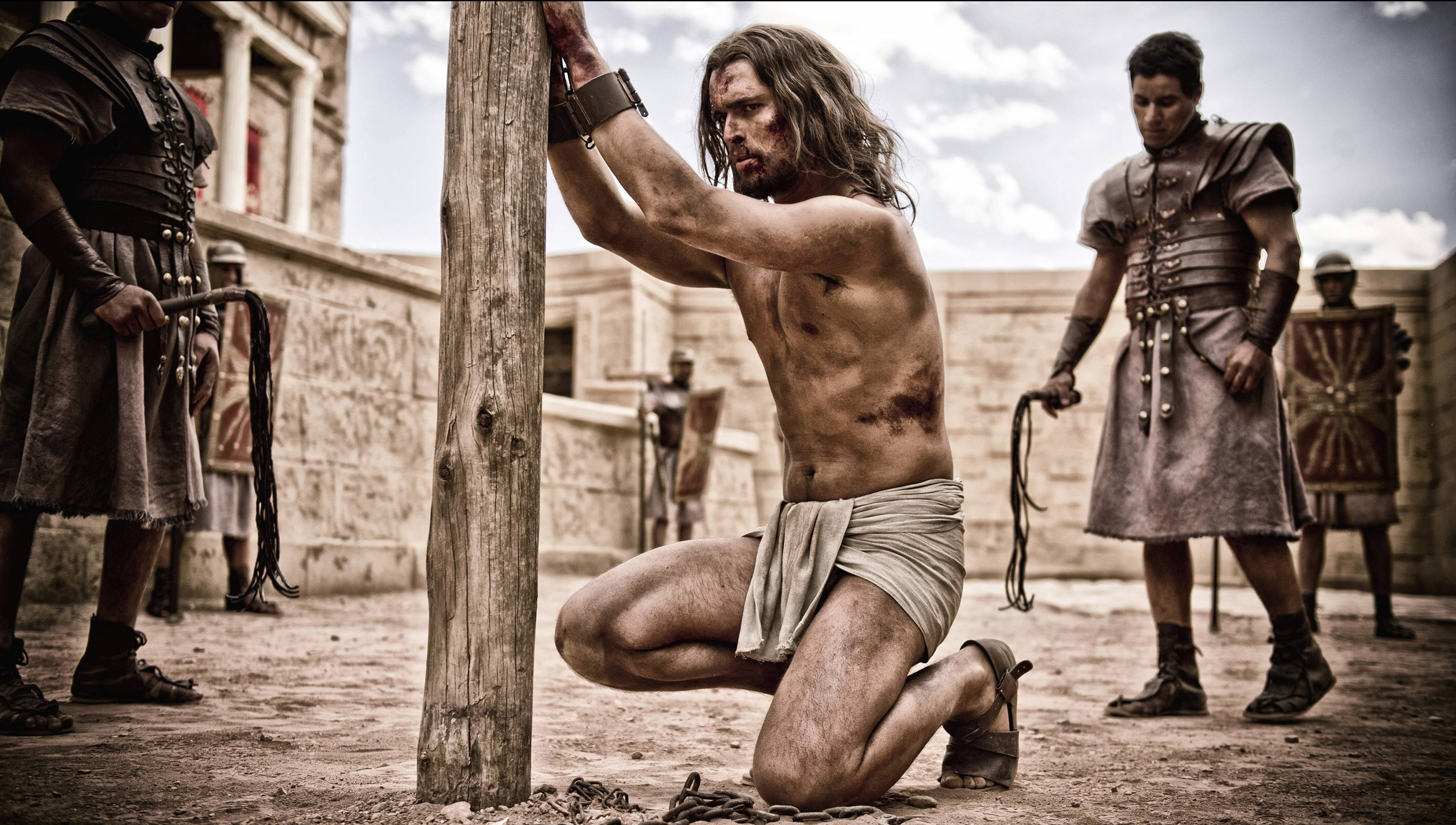 "The Romans torment Jesus (Diogo Morgado) in ""Son of God."""