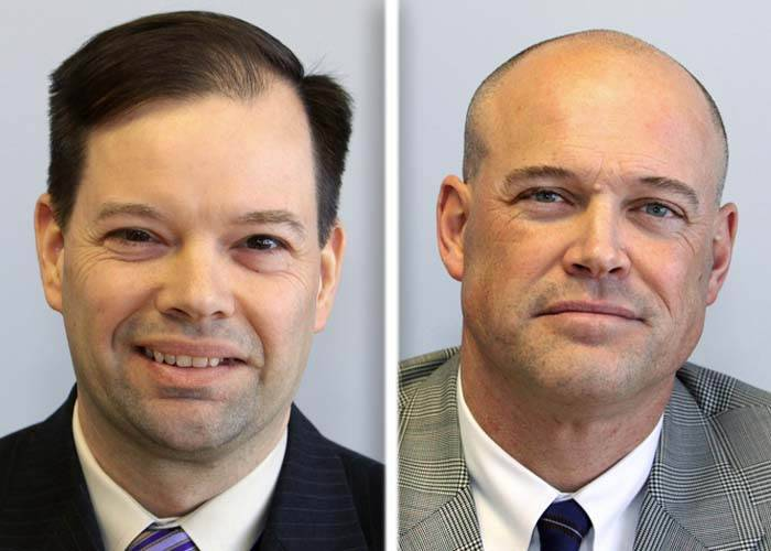 Keith Matune, left, is challenging incumbent Ron Sandack for the Republican nomination to represent the 81st state House District in the March 18 primary election.