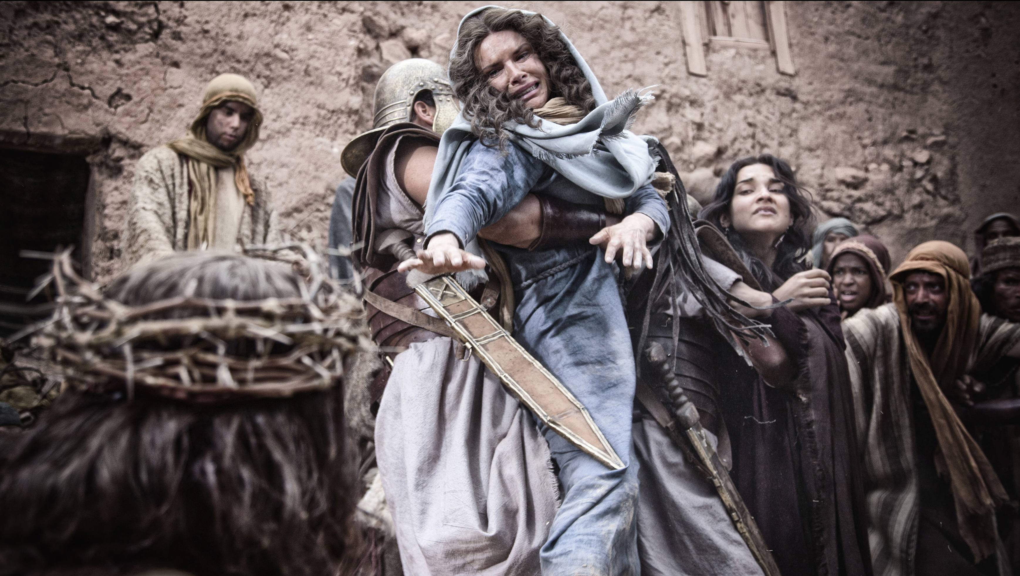"Mary (Roma Downey) cries out for her son in ""Son of God."""