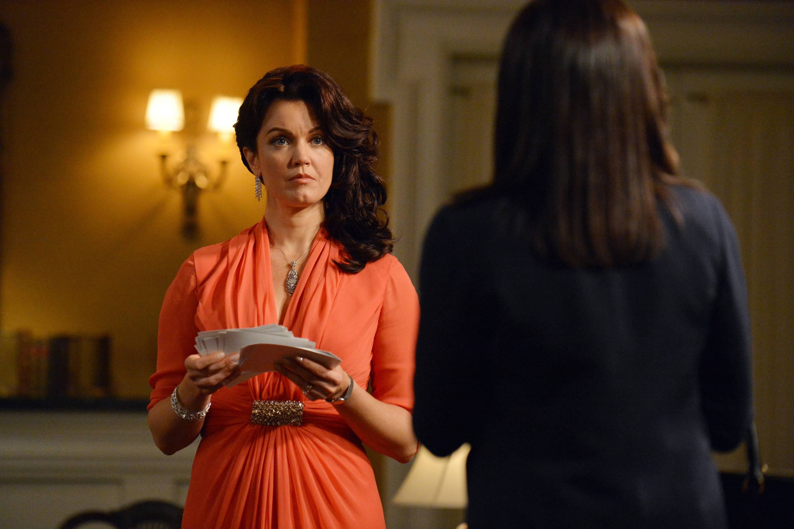 "Mellie Grant (Bellamy Young), left, and Olivia Pope (Kerry Washington) are back in the thick of things when ABC's ""Scandal"" returns Thursday, March 6."