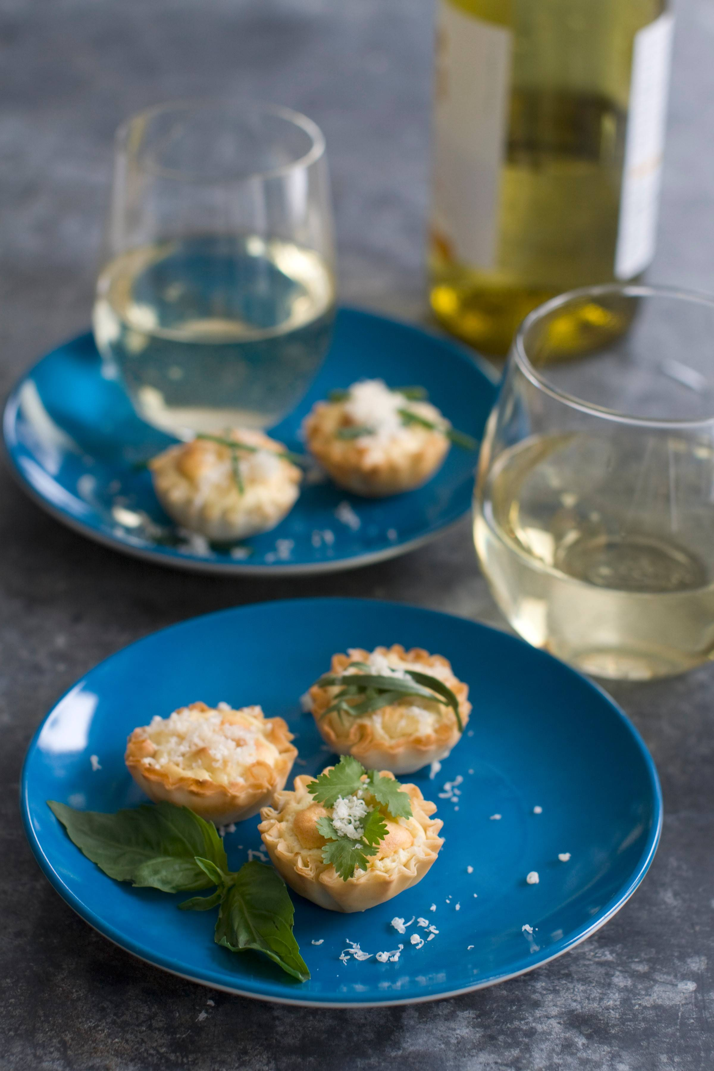Each of these anti-gravity goat cheese phyllo bites is fairly low in calories -- no more than 15 calories per shell.