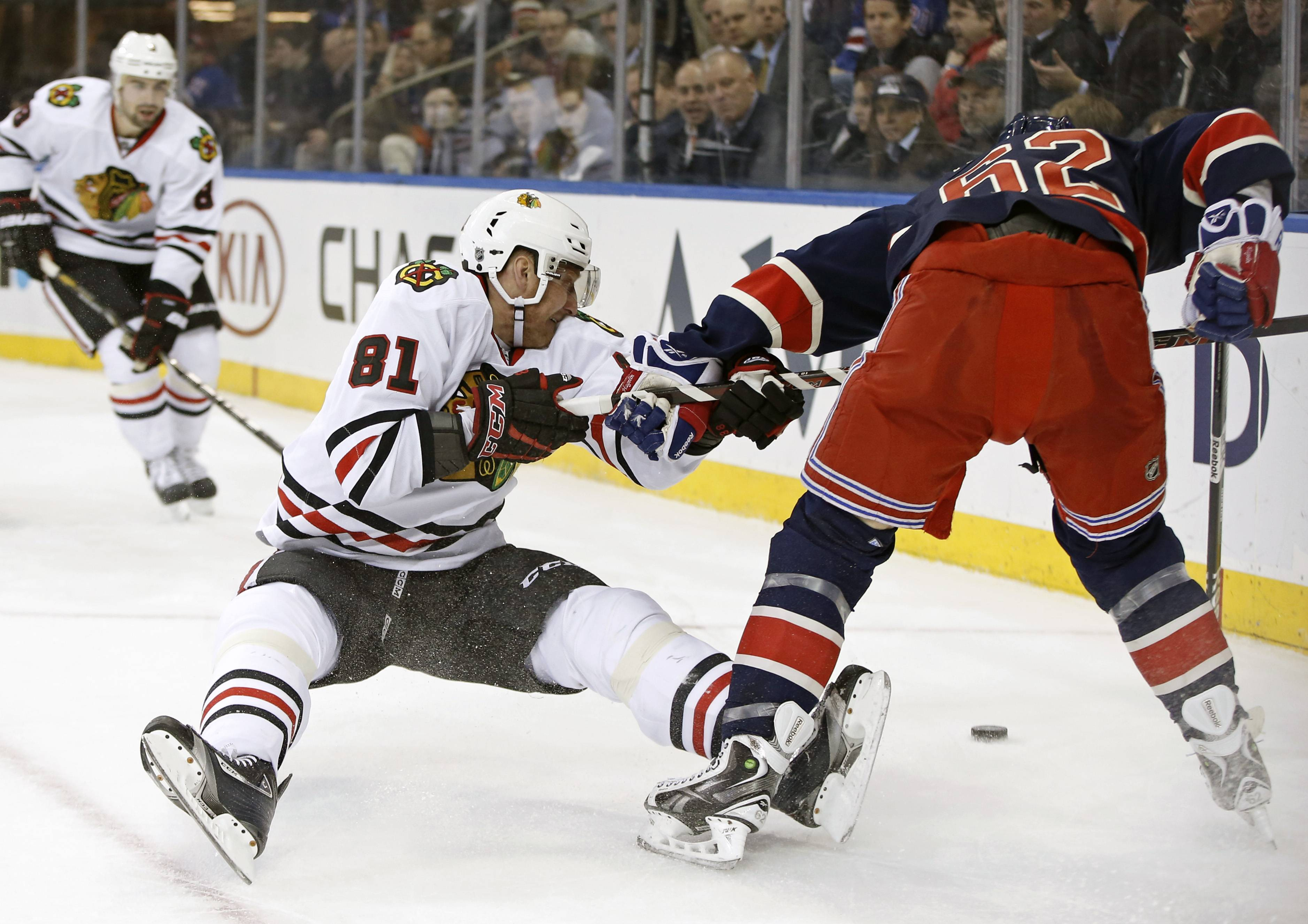 Marian Hossa and the Hawks took quite a tumble against Carl Hagelin and the Rangers on Thursday at Madison Square Garden.