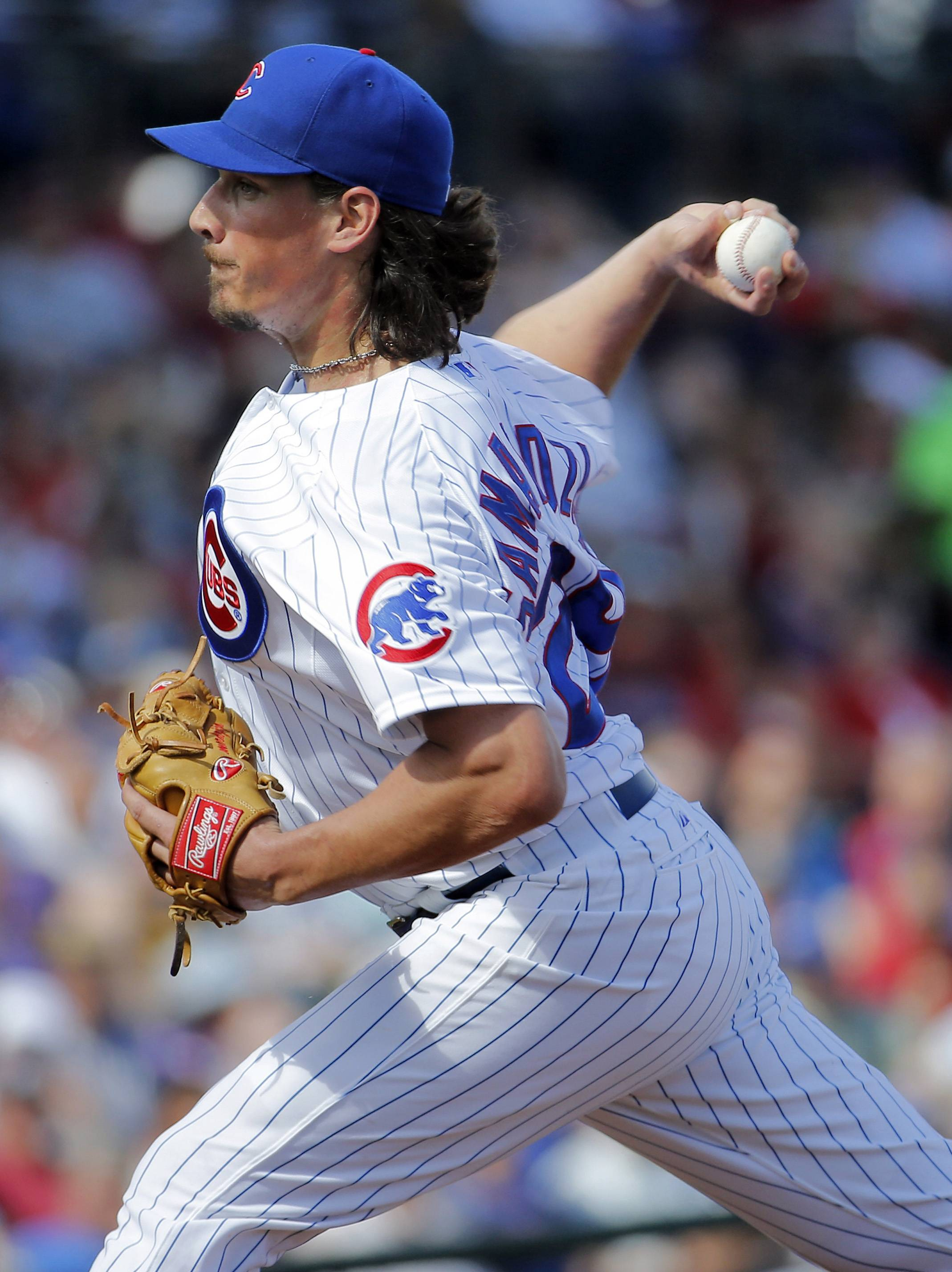 Chicago Cubs pitcher Jeff Samardzija pitched two shutout innings during the Cubs' opener in their new Arizona stadium Thursday, but they still lost to the Diamondbacks 5-2.
