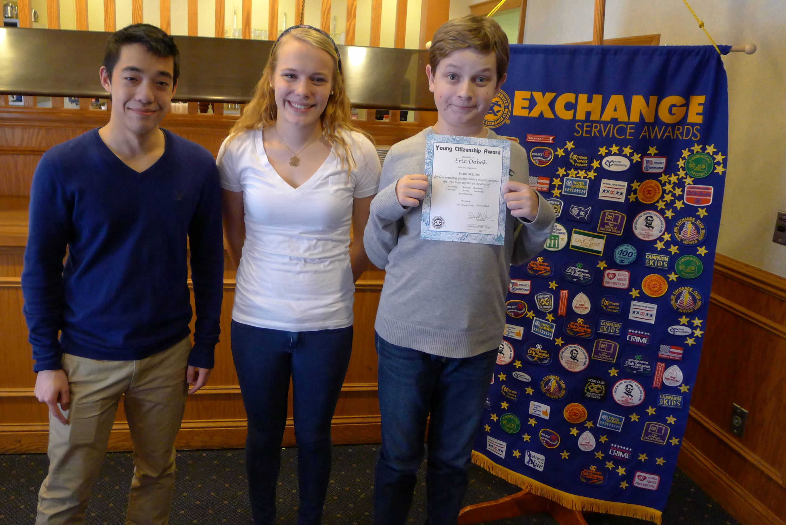 The Exchange Club of Grayslake's February Youth of the Month award winners are Albert Yang and Shannon Myers. The Young Citizenship Award winner is Eric Dobek.