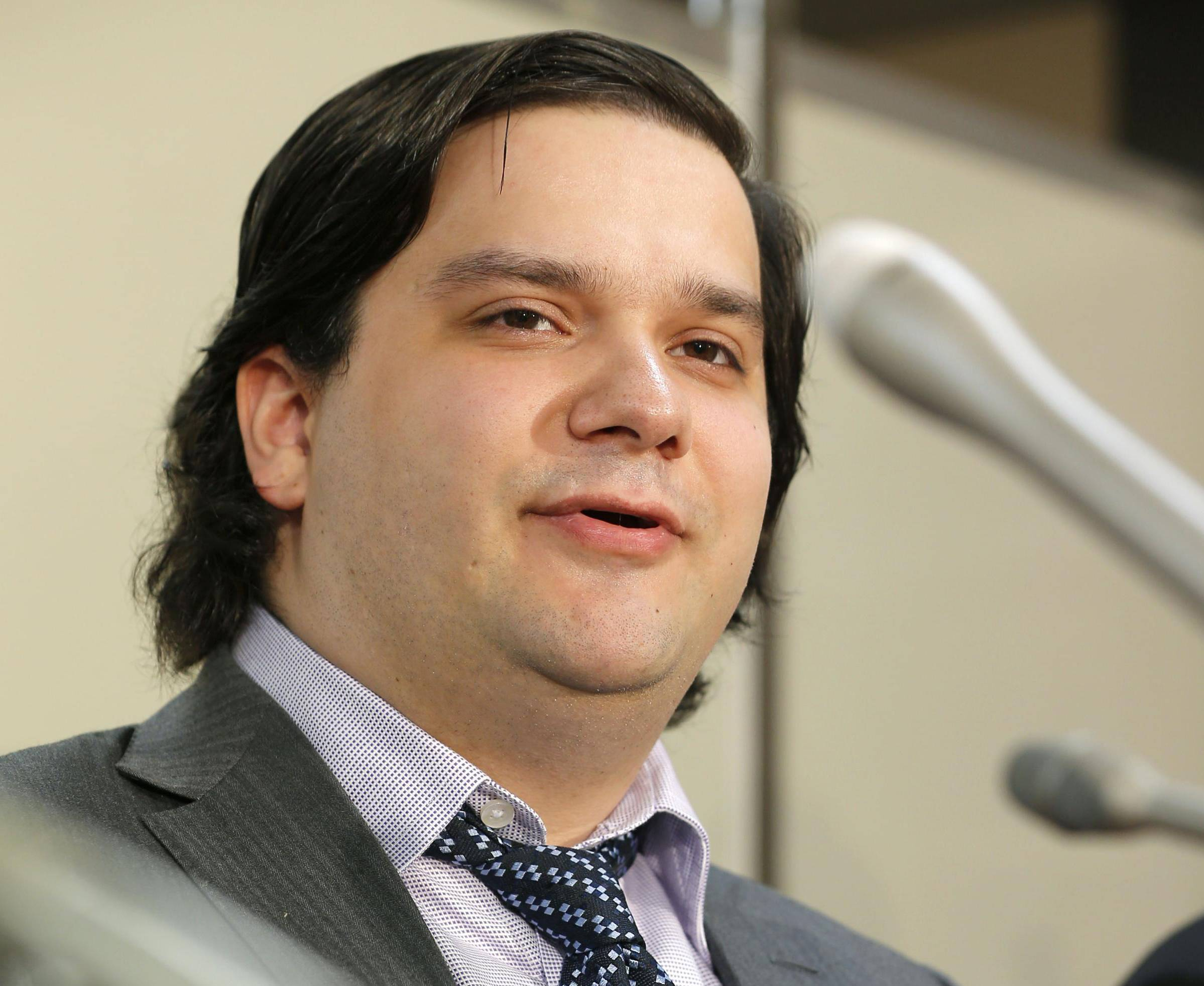 Mt. Gox CEO Mark Karpeles speaks at a news conference Friday at the Justice Ministry in Tokyo.