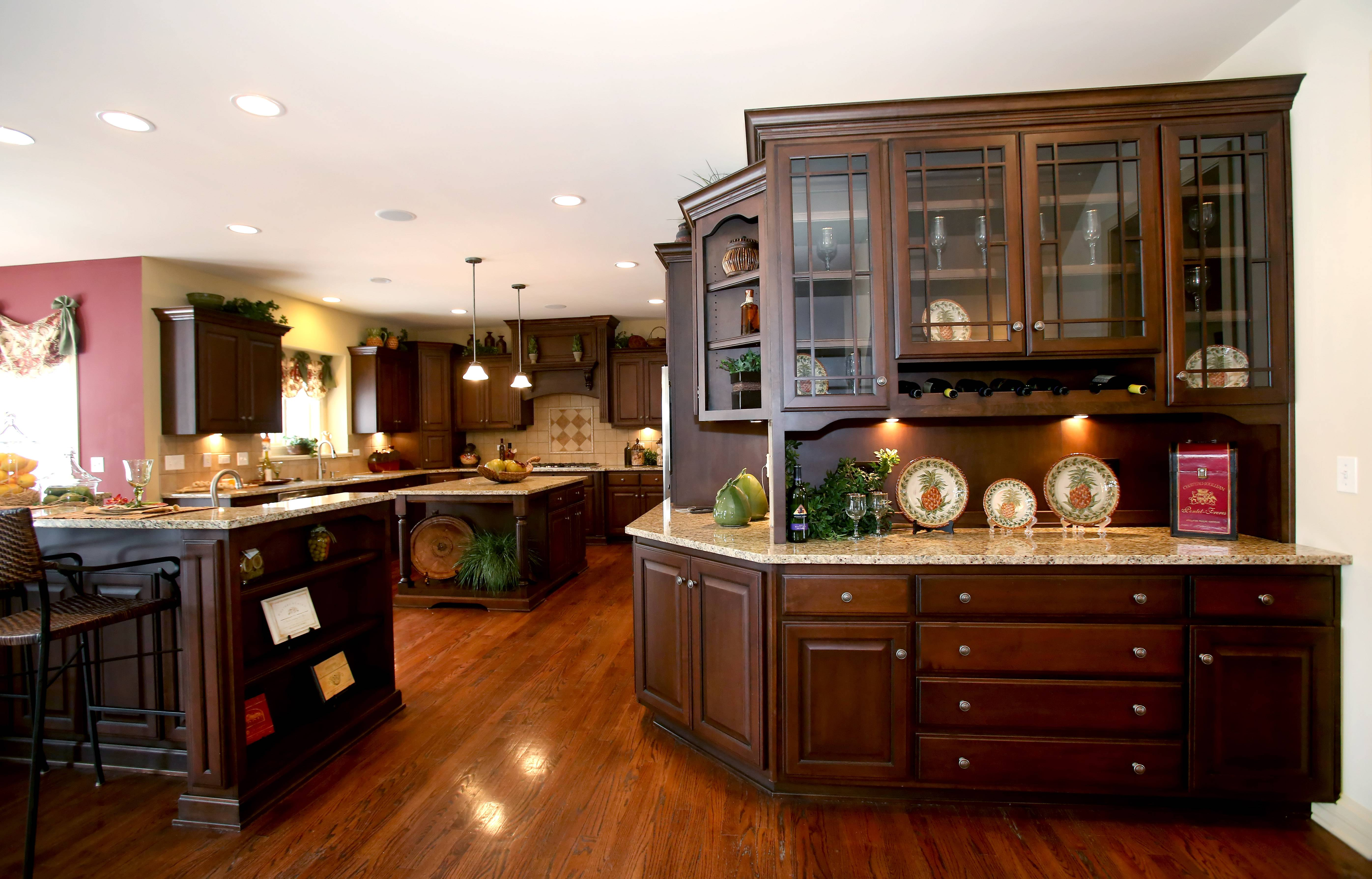 Overstreet Builders has not one, but two kitchen islands in its Castleby model at the Fairways of Augusta Village, in Bolingbrook.