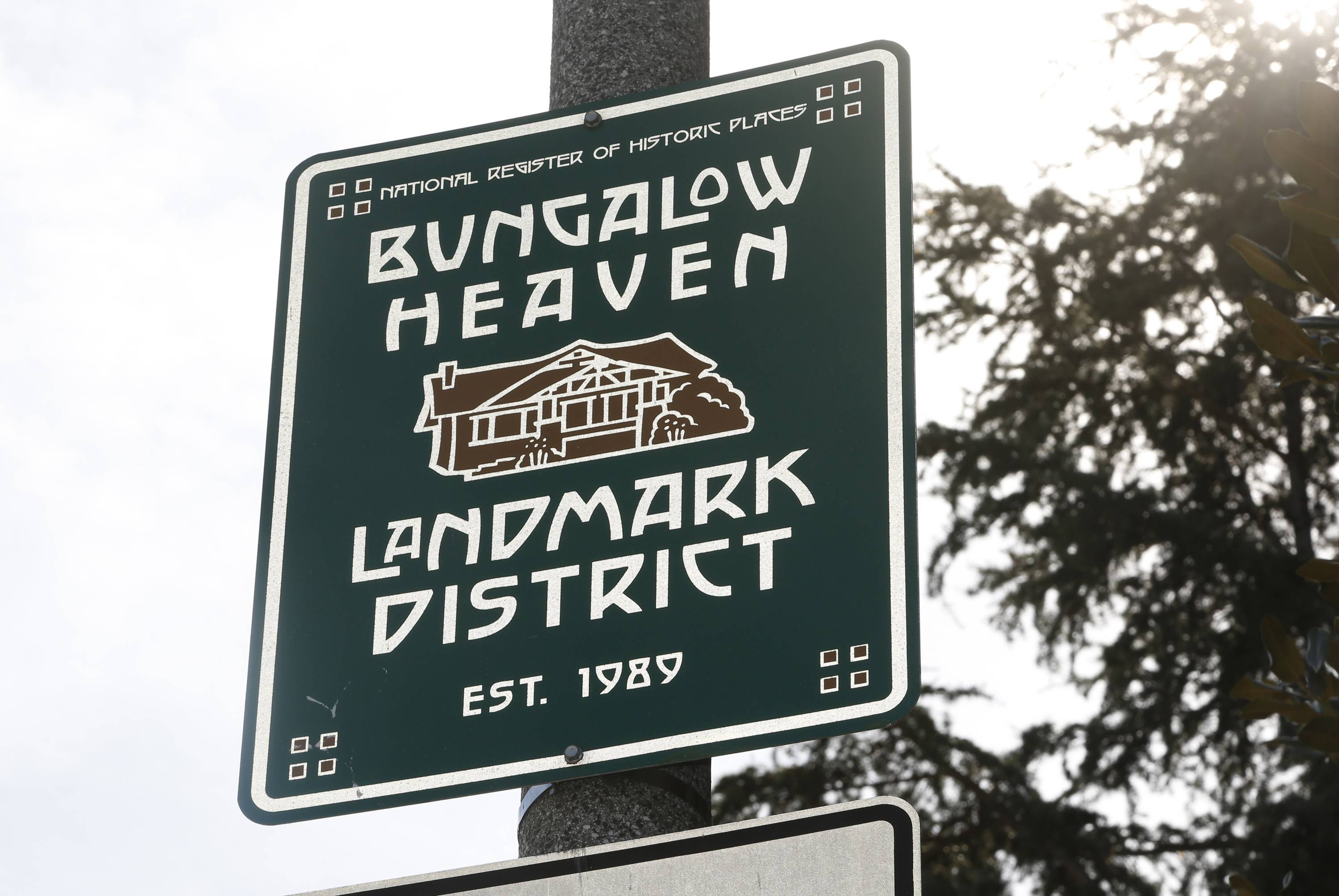 "A sign marks the ""Bungalow Heaven"" district in Pasadena, Calif."