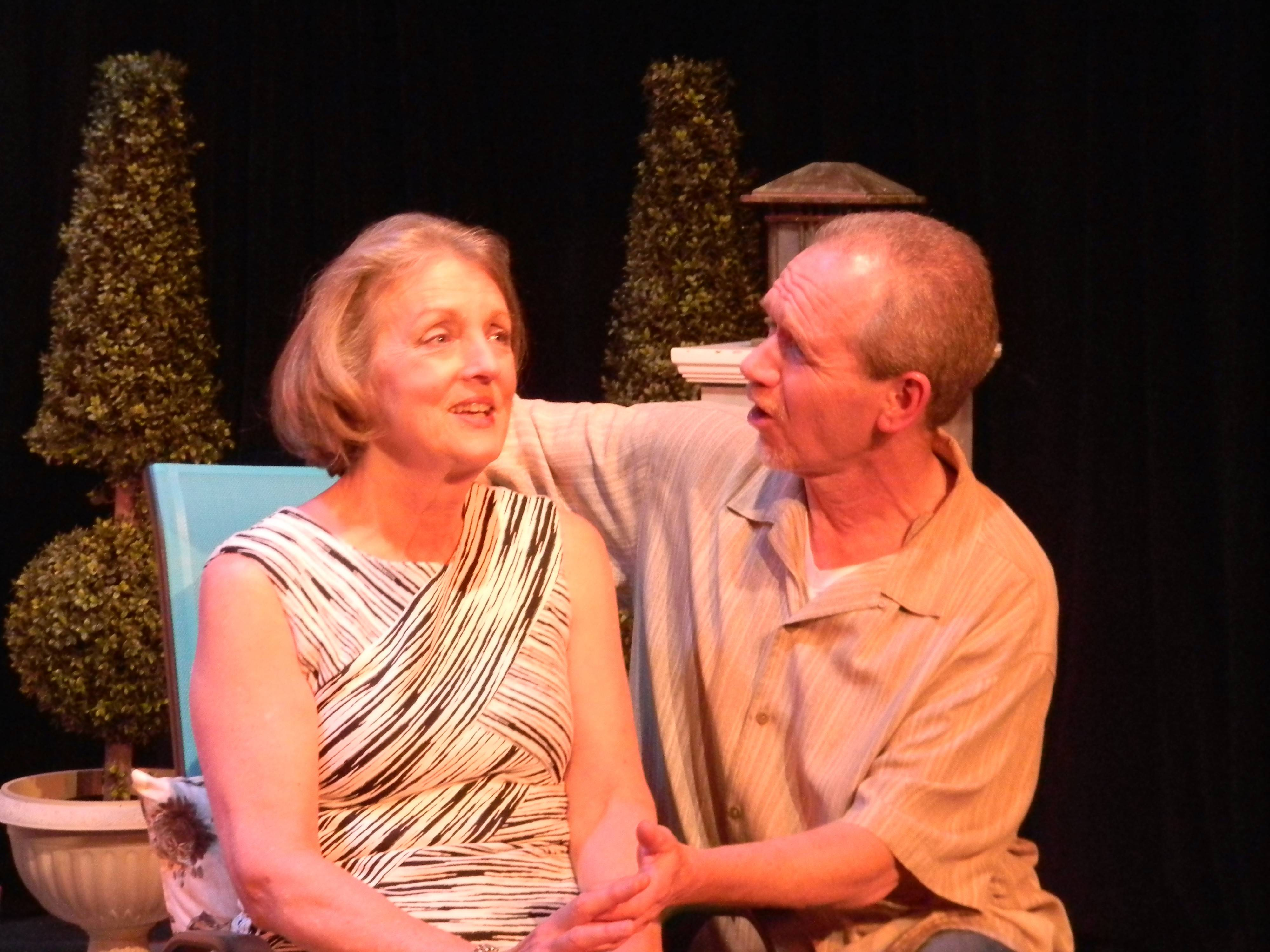 "Donna Steele and Pat Able play ex-spouses who reunite for their daughter's engagement party in Steel Beam Theatre's world premiere of ""The Bay of Portugal"" by Richard Culliton."