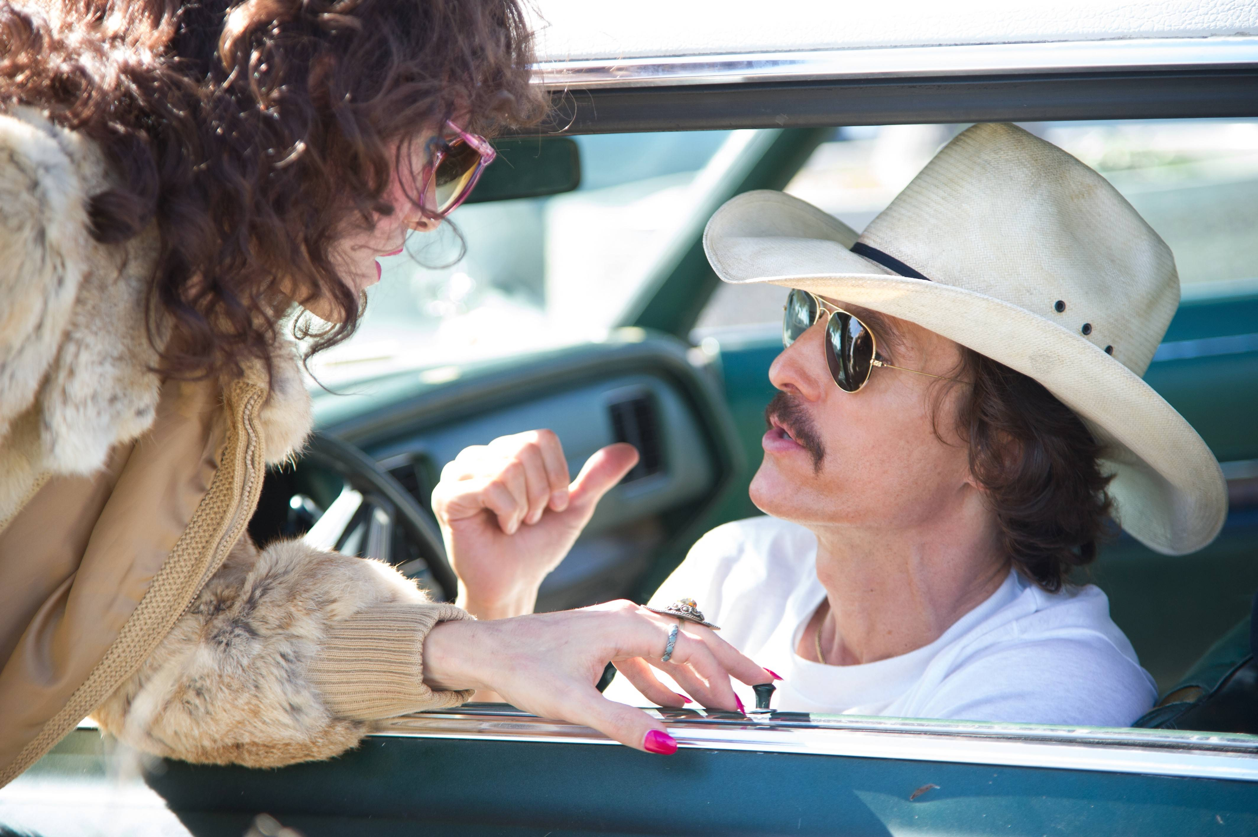 "Matthew McConaughey, right, will win the Best Actor Oscar and Jared Leto will win the Supporting Actor Oscar for their roles in the fact-based ""Dallas Buyers Club."""